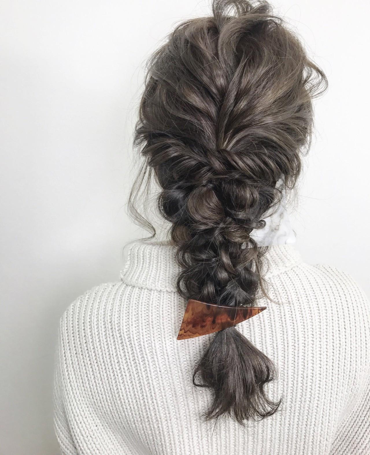 ヘアアレンジ 三つ編み エレガント 上品 ヘアスタイルや髪型の写真・画像