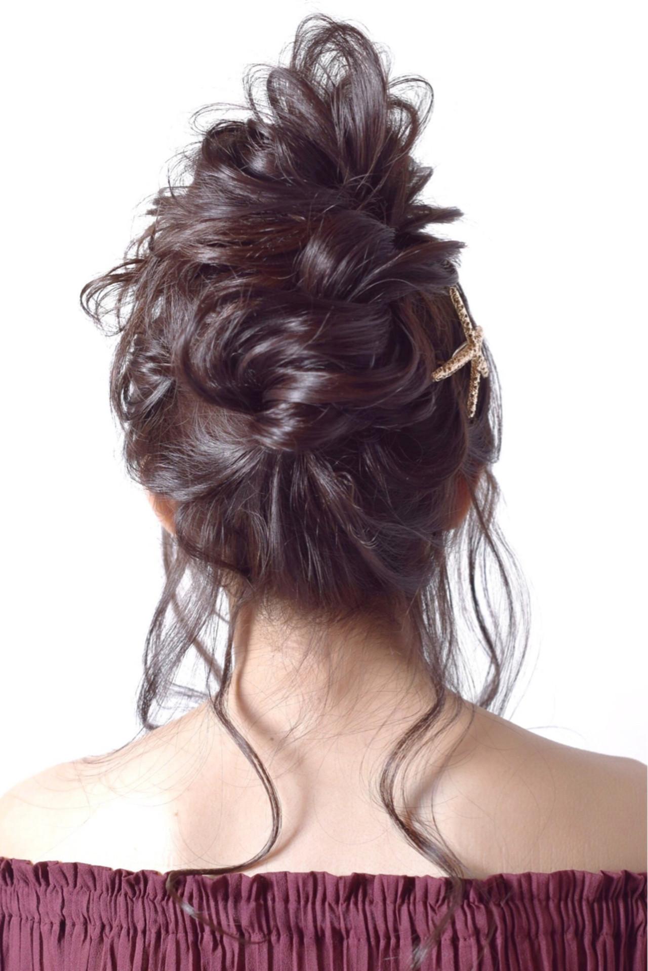 ヘアアレンジ お団子 ロング パーティ ヘアスタイルや髪型の写真・画像
