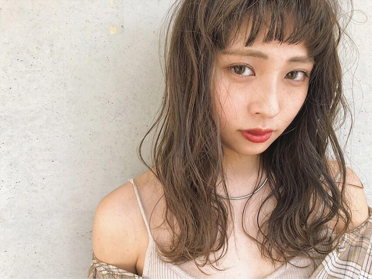 女子力 ナチュラル 外国人風カラー セミロング ヘアスタイルや髪型の写真・画像