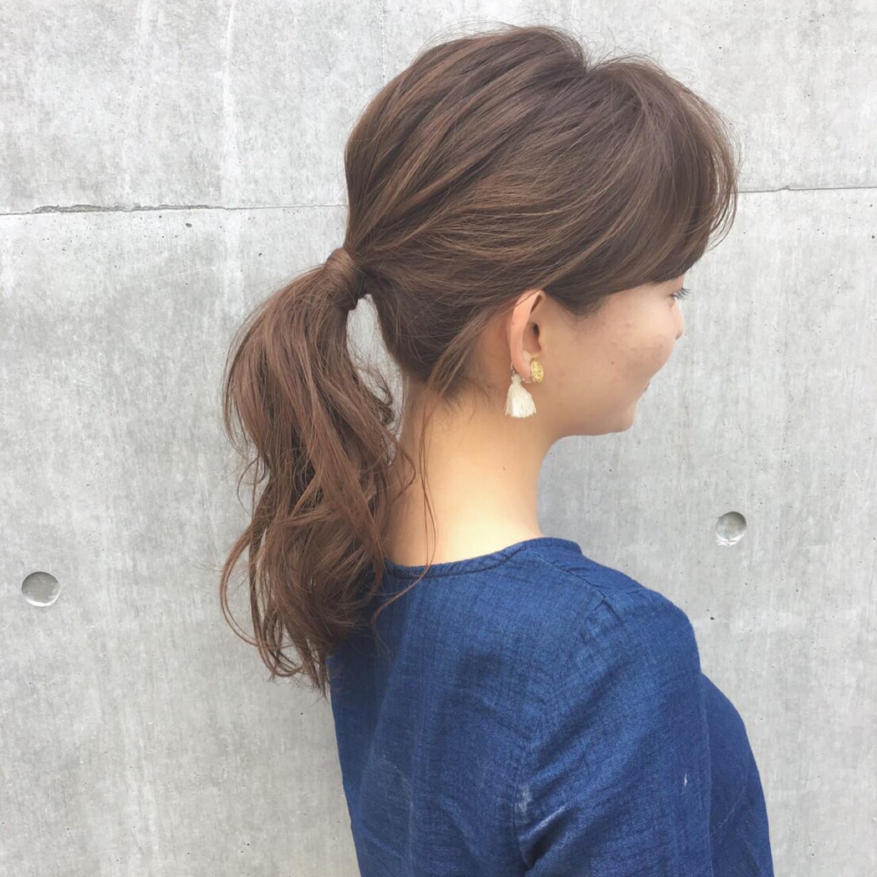 簡単ヘアアレンジ ヘアアレンジ セミロング ポニーテール ヘアスタイルや髪型の写真・画像