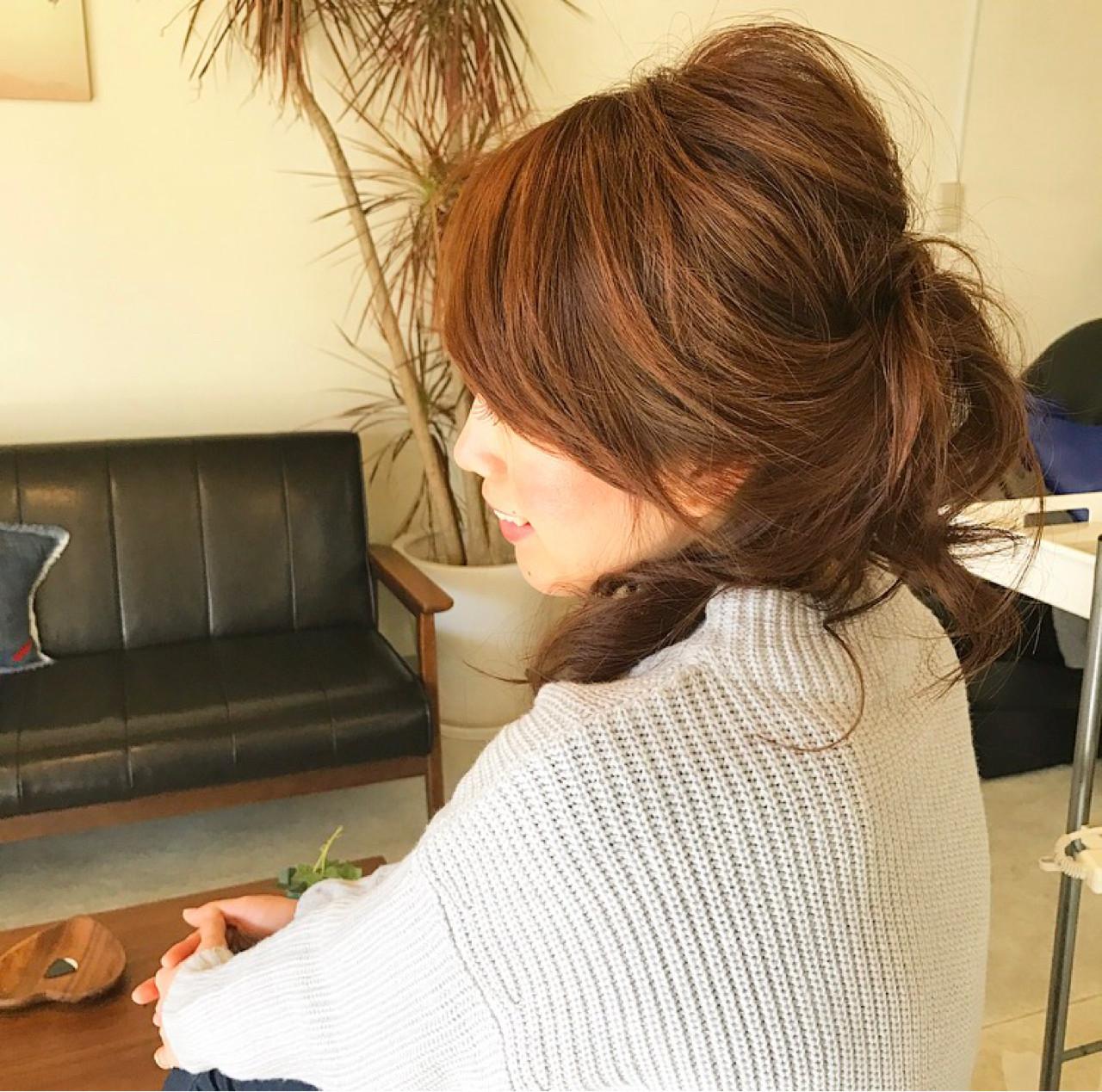 大人かわいい まとめ髪 セミロング ヘアアレンジ ヘアスタイルや髪型の写真・画像