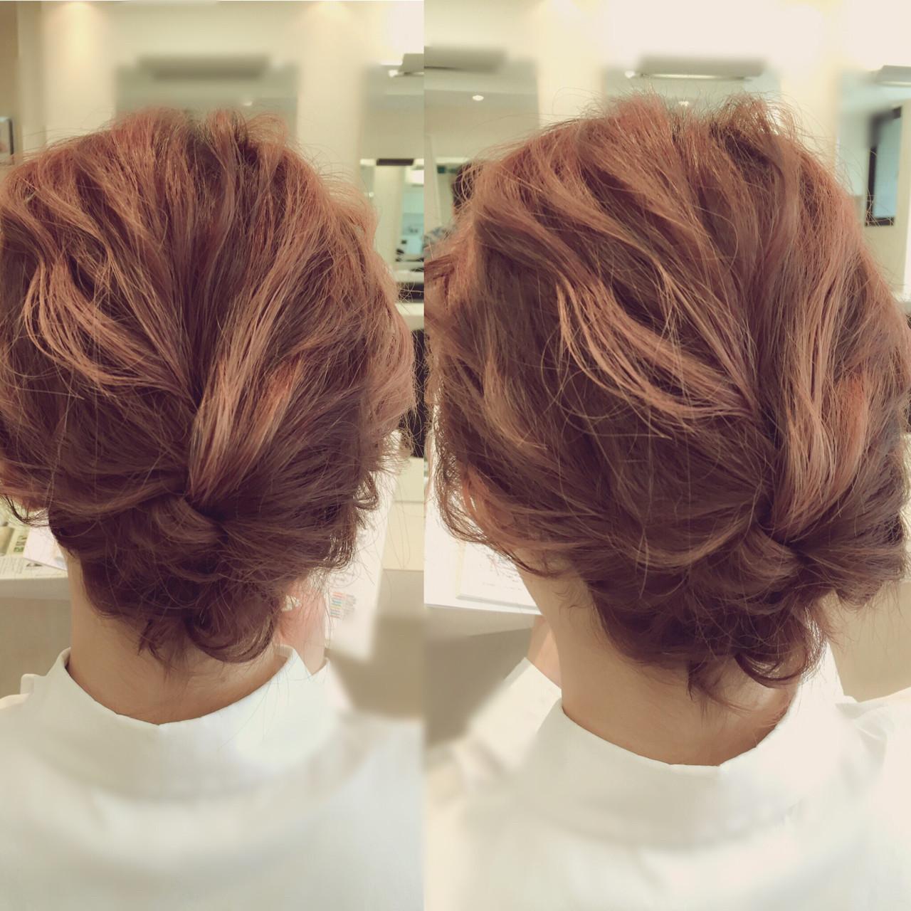 ヘアアレンジ ボブ まとめ髪 結婚式 ヘアスタイルや髪型の写真・画像