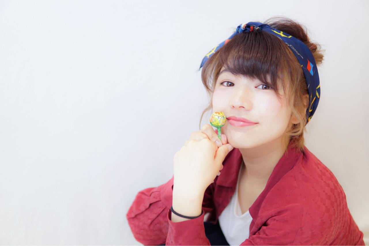 ミディアム ショート バンダナ 夏 ヘアスタイルや髪型の写真・画像