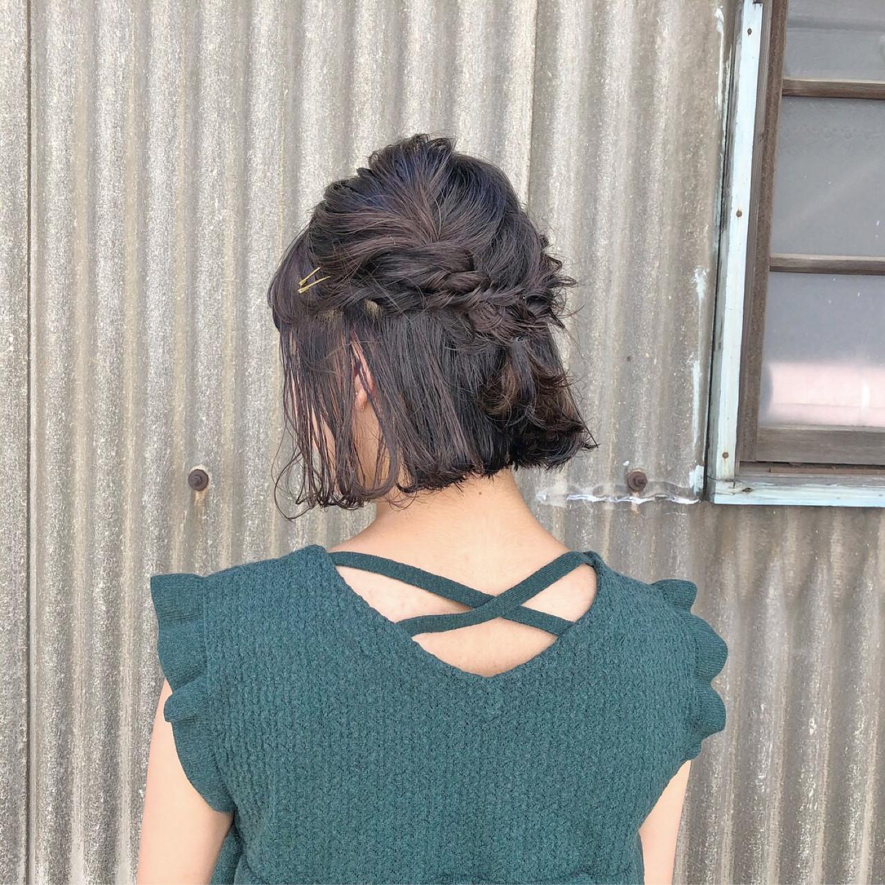 切りっぱなし 簡単ヘアアレンジ ヘアアレンジ ガーリー ヘアスタイルや髪型の写真・画像