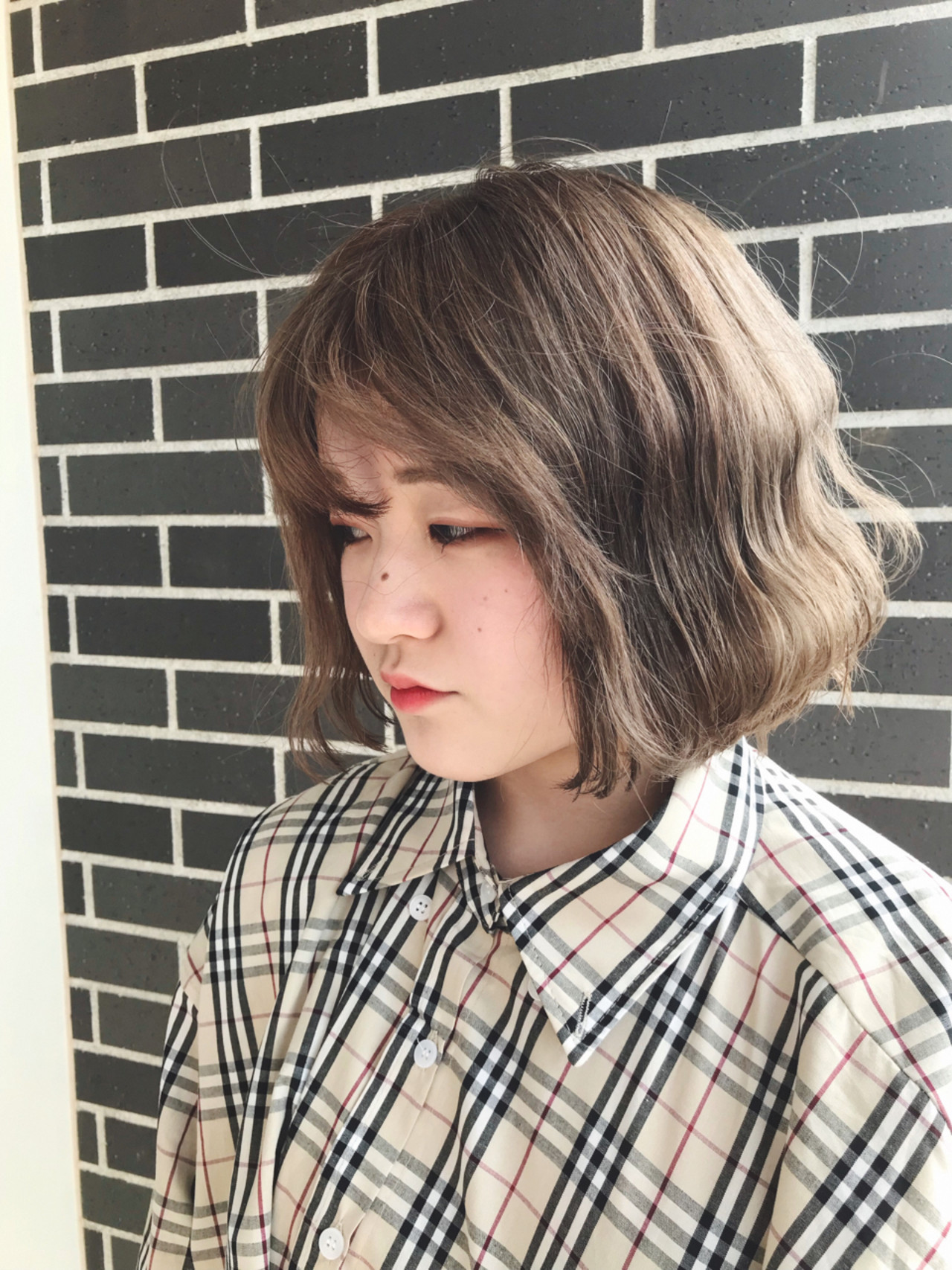 くすみカラー ダブルカラー ボブ 外国人風カラー ヘアスタイルや髪型の写真・画像
