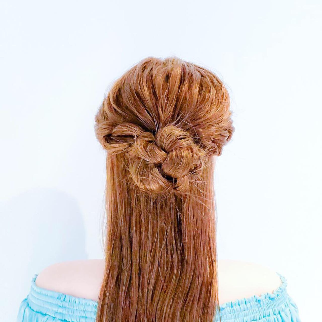 三つ編みとロープ編みのハーフアップ 美容師 HIRO  Amoute/アムティ