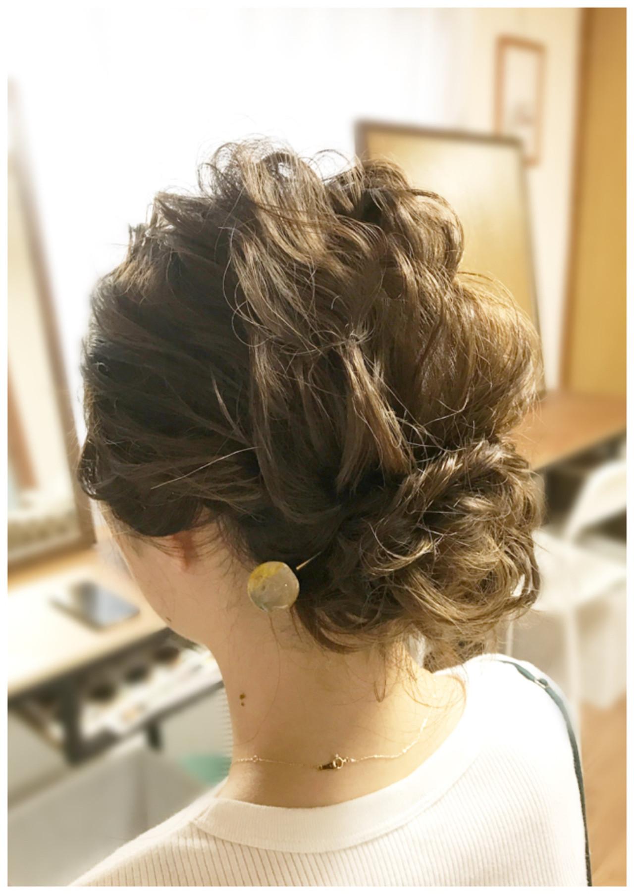 ナチュラル ミディアム まとめ髪 パーティ ヘアスタイルや髪型の写真・画像