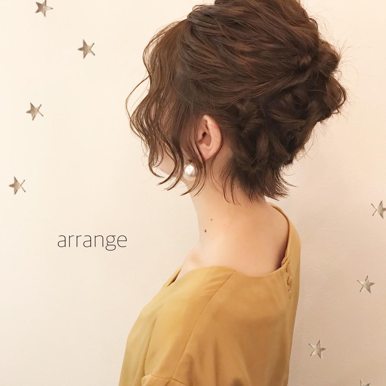 ナチュラル ショート ヘアアレンジ 結婚式 ヘアスタイルや髪型の写真・画像