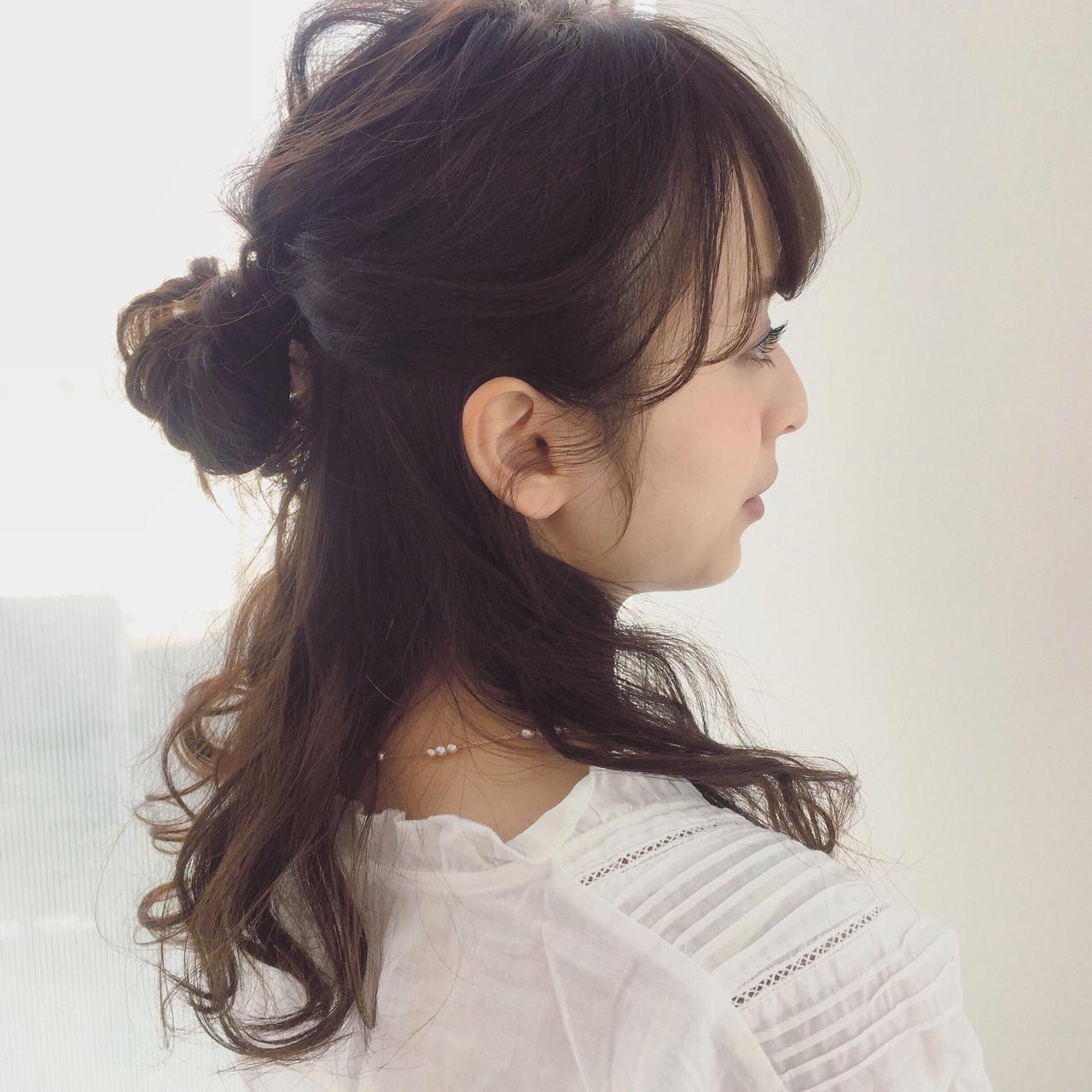 アップスタイル ルーズ ハーフアップ フェミニン ヘアスタイルや髪型の写真・画像