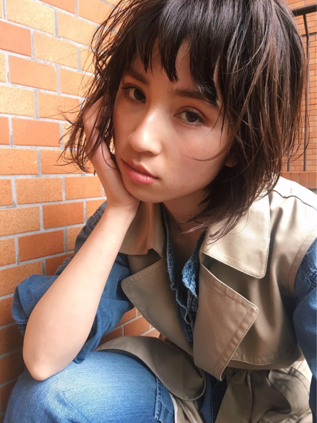 抜け感 ウェットヘア オン眉 外国人風 ヘアスタイルや髪型の写真・画像