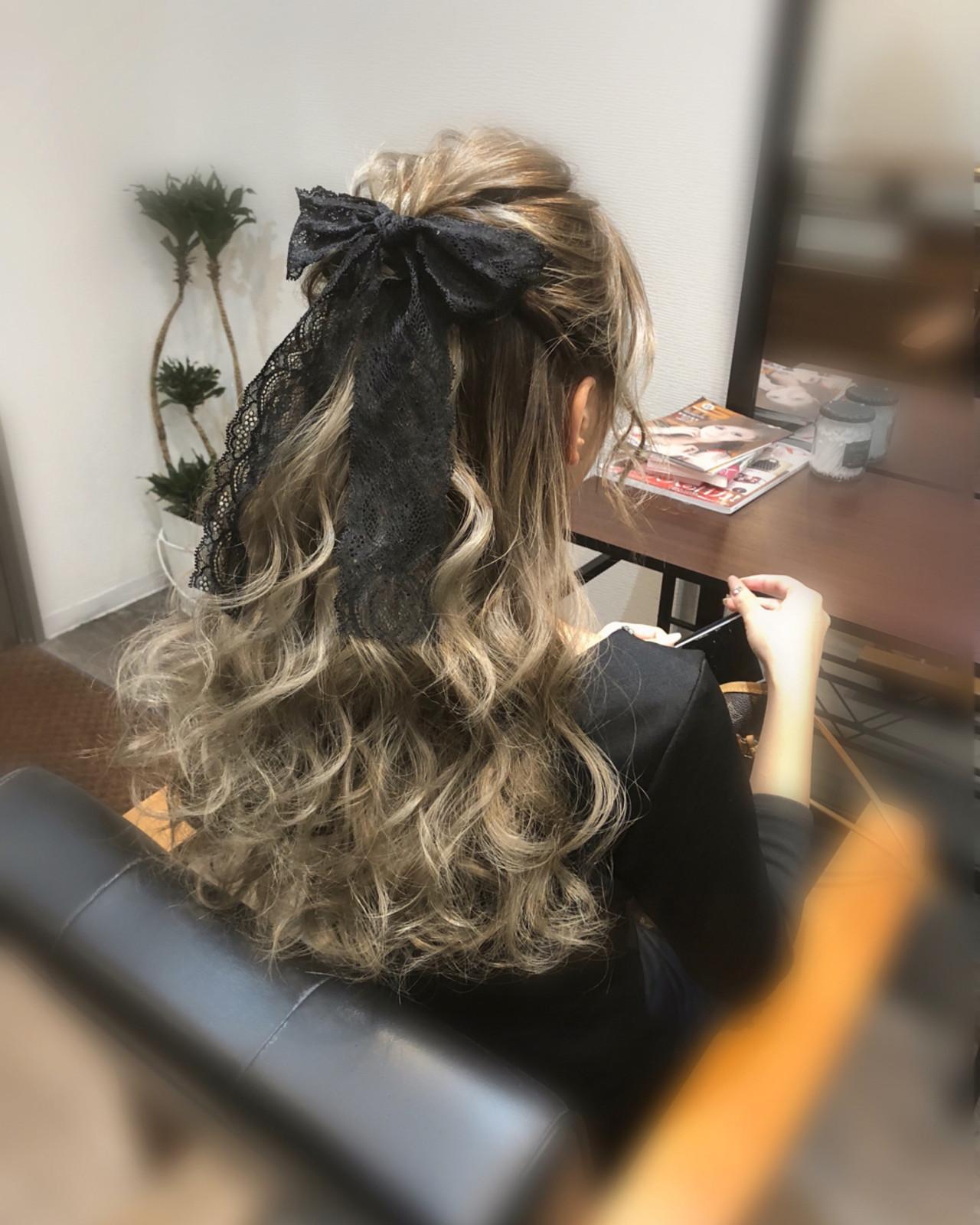 ヘアアレンジ ロング ガーリー パーティ ヘアスタイルや髪型の写真・画像