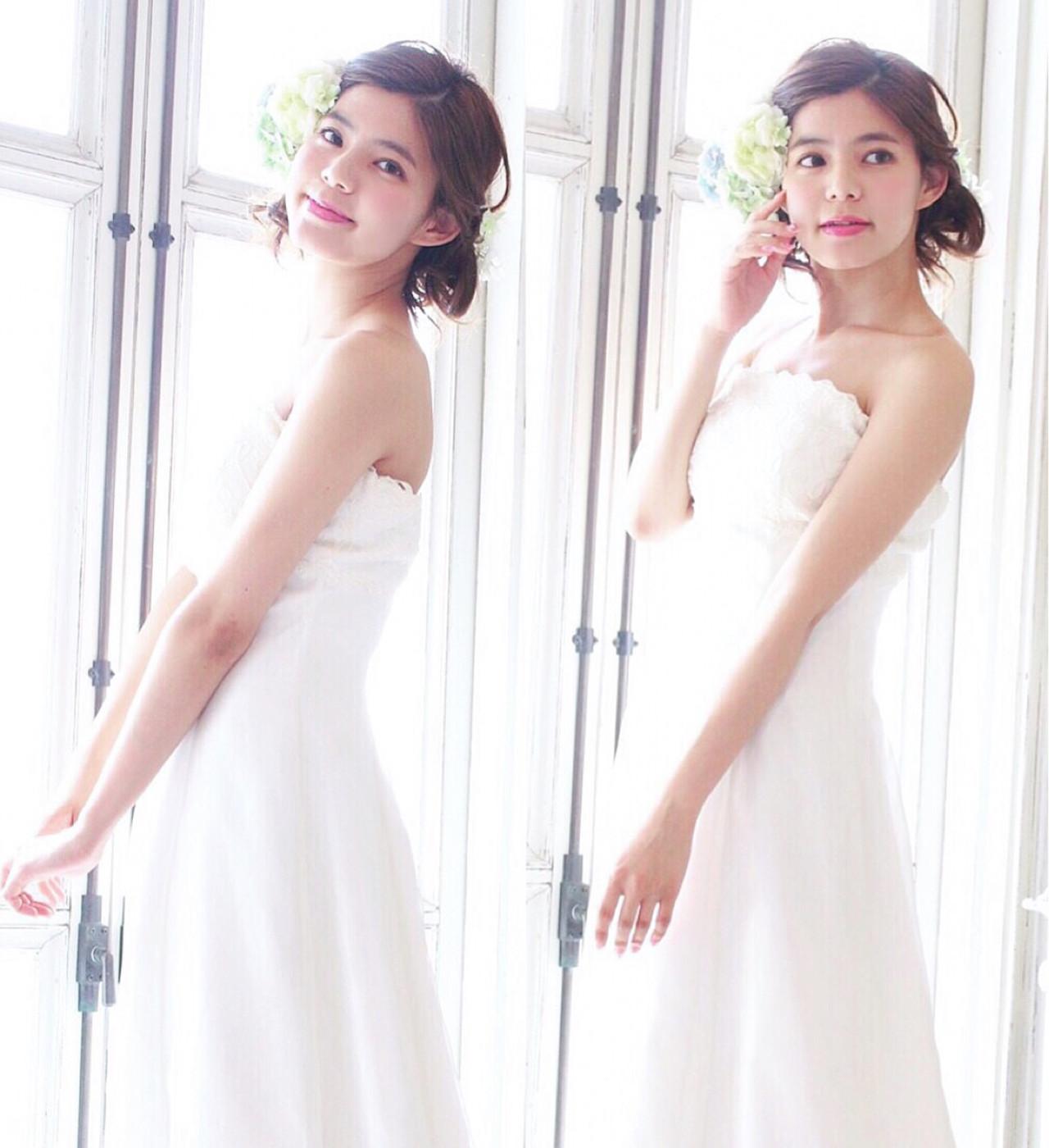 ヘアアレンジ セミロング ブライダル 結婚式 ヘアスタイルや髪型の写真・画像