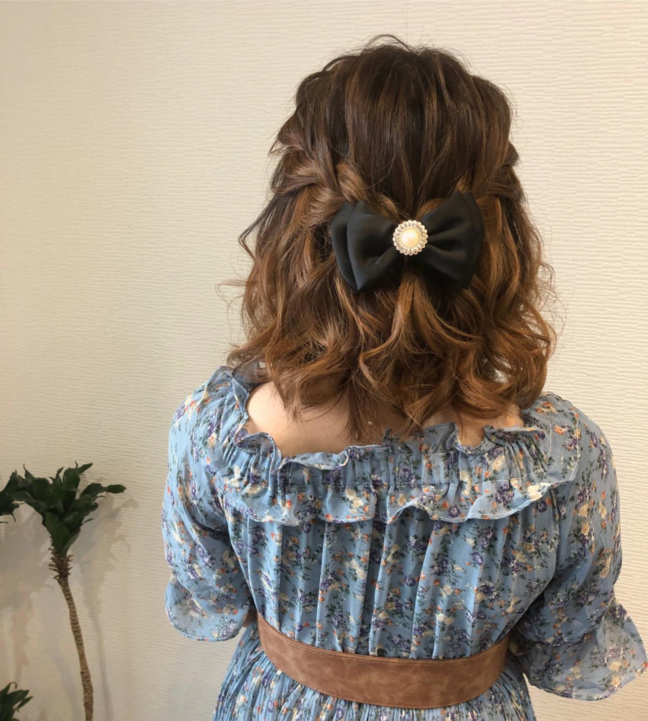 編み込み ハーフアップ ボブ フェミニン ヘアスタイルや髪型の写真・画像