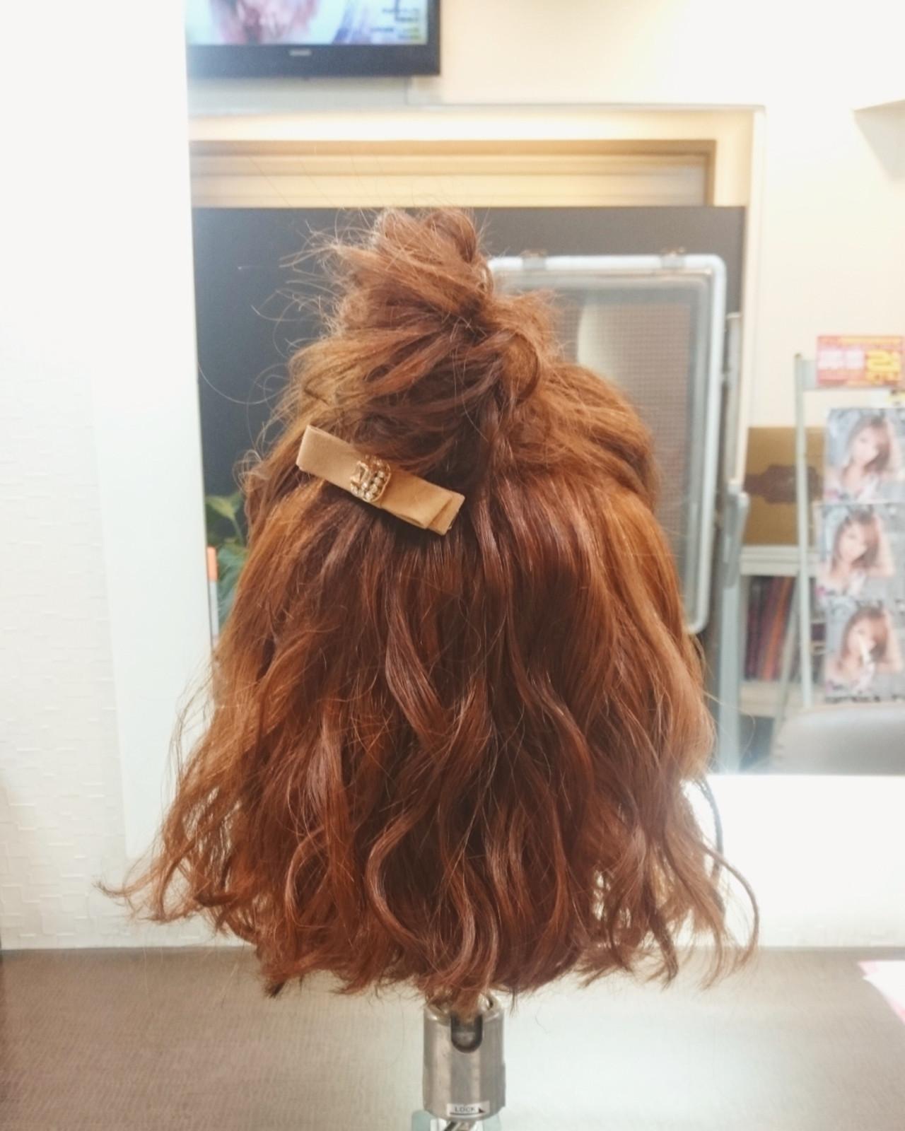 ボブ ハーフアップ ガーリー デート ヘアスタイルや髪型の写真・画像