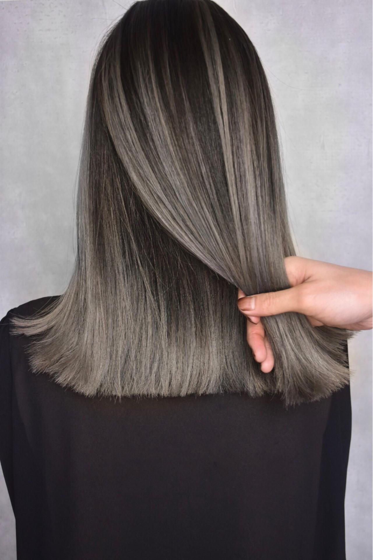 ハイライト バレイヤージュ ナチュラル グラデーションカラー ヘアスタイルや髪型の写真・画像