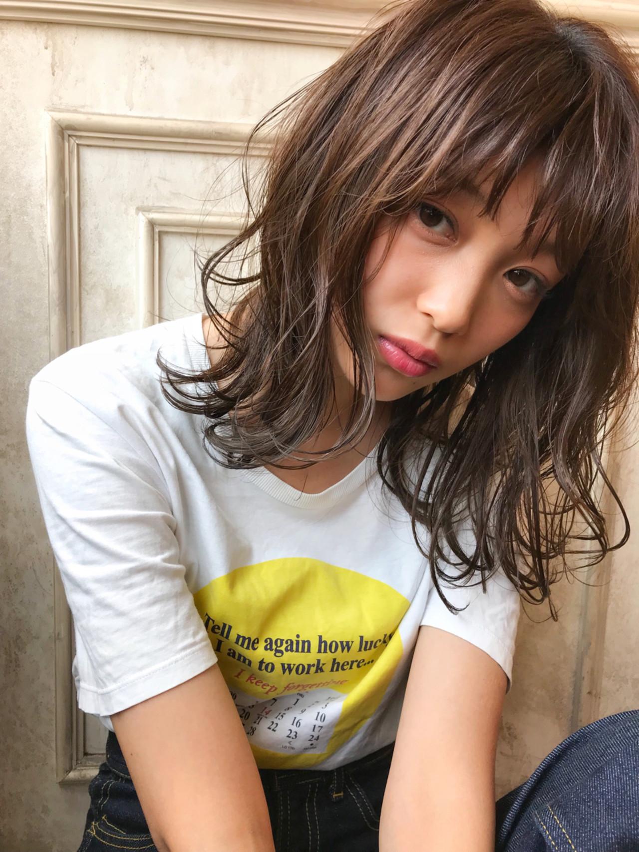 女子力 透明感 ミディアム ストリート ヘアスタイルや髪型の写真・画像