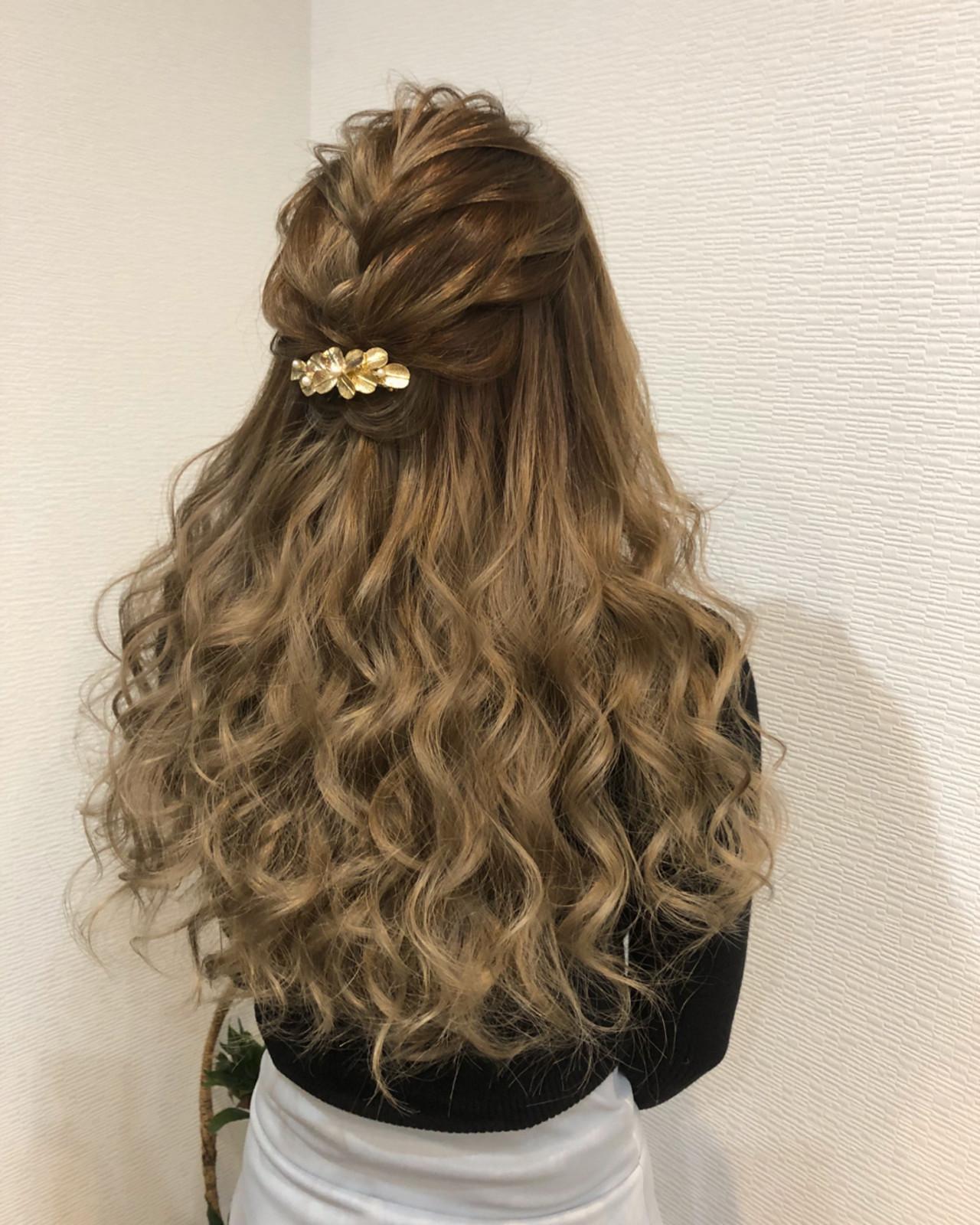 ハーフアップ ヘアアレンジ ロング フェミニン ヘアスタイルや髪型の写真・画像