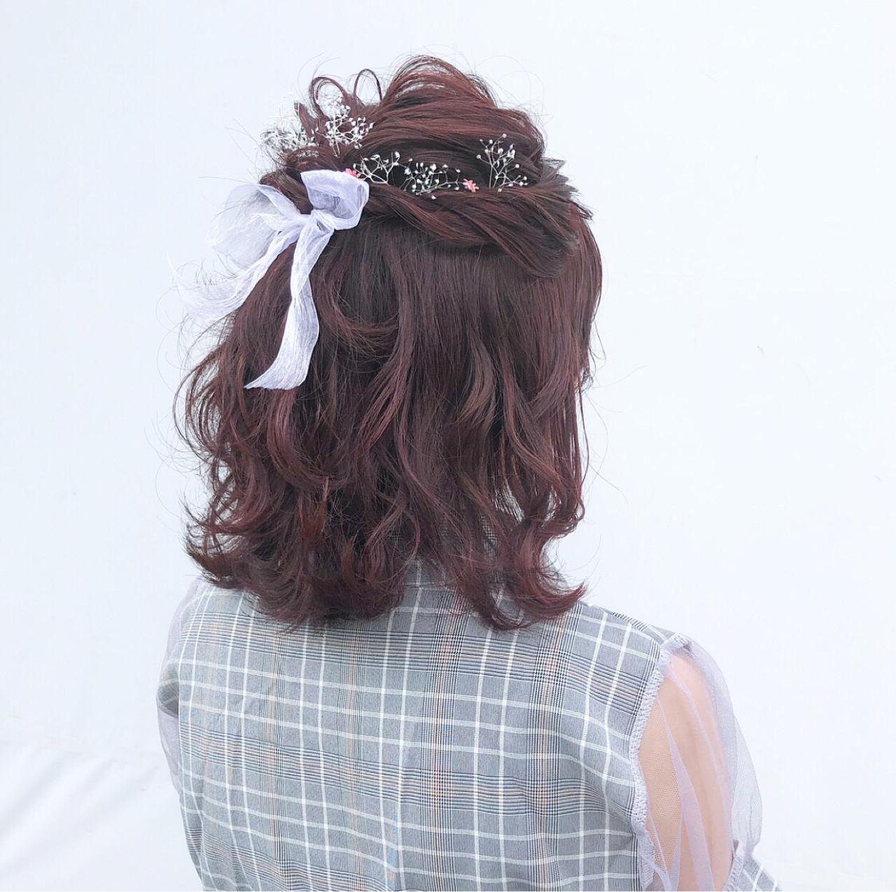 フェミニンでガーリーなハーフアップ hii.de@✂︎  gem.for hair藤崎店