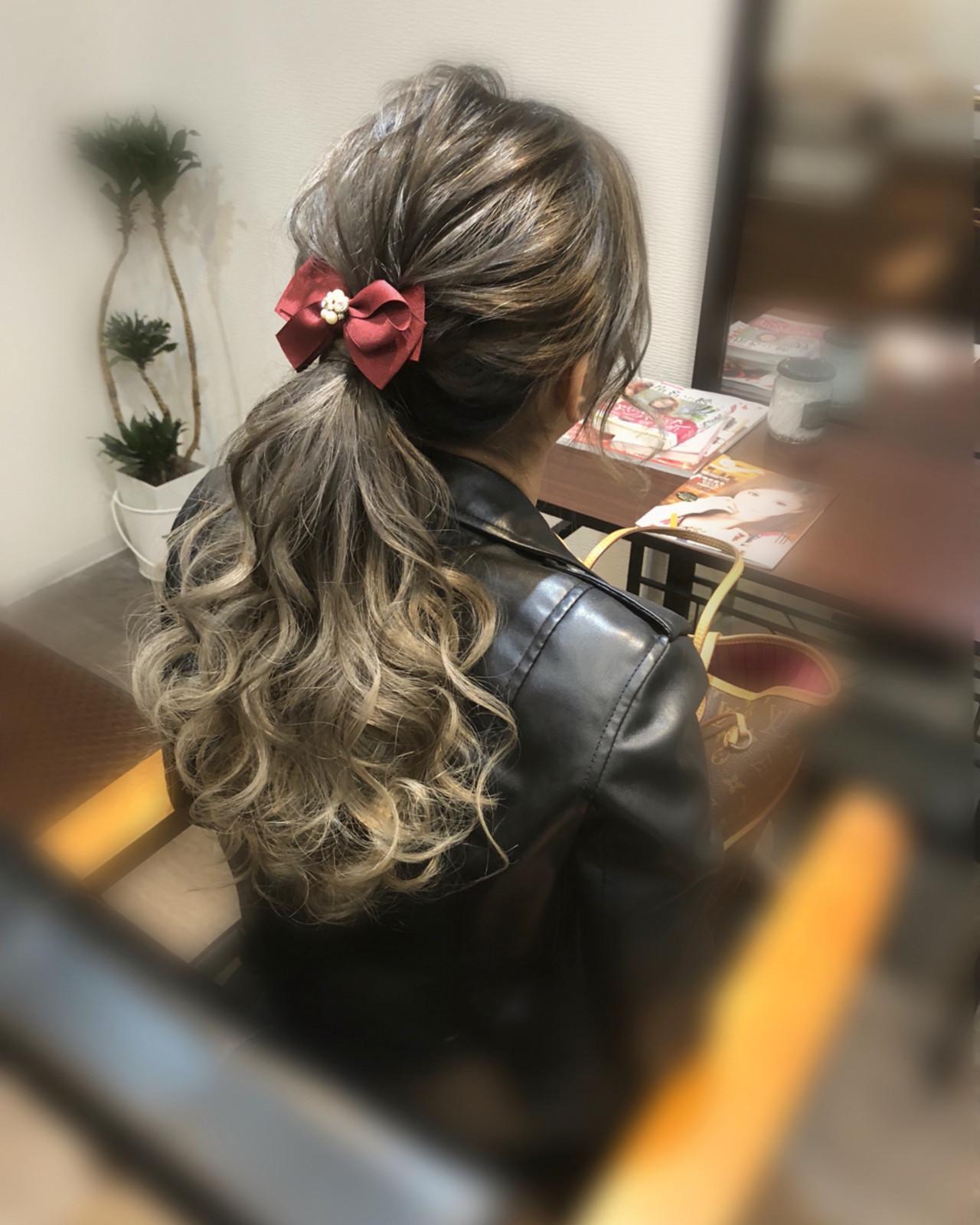 フェミニン ヘアアレンジ ポニーテール ローポニーテール ヘアスタイルや髪型の写真・画像
