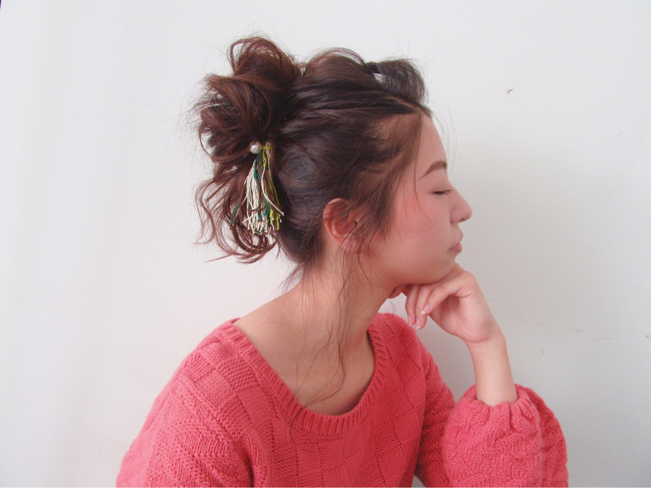 ナチュラル ポニーテール ヘアアレンジ セミロング ヘアスタイルや髪型の写真・画像