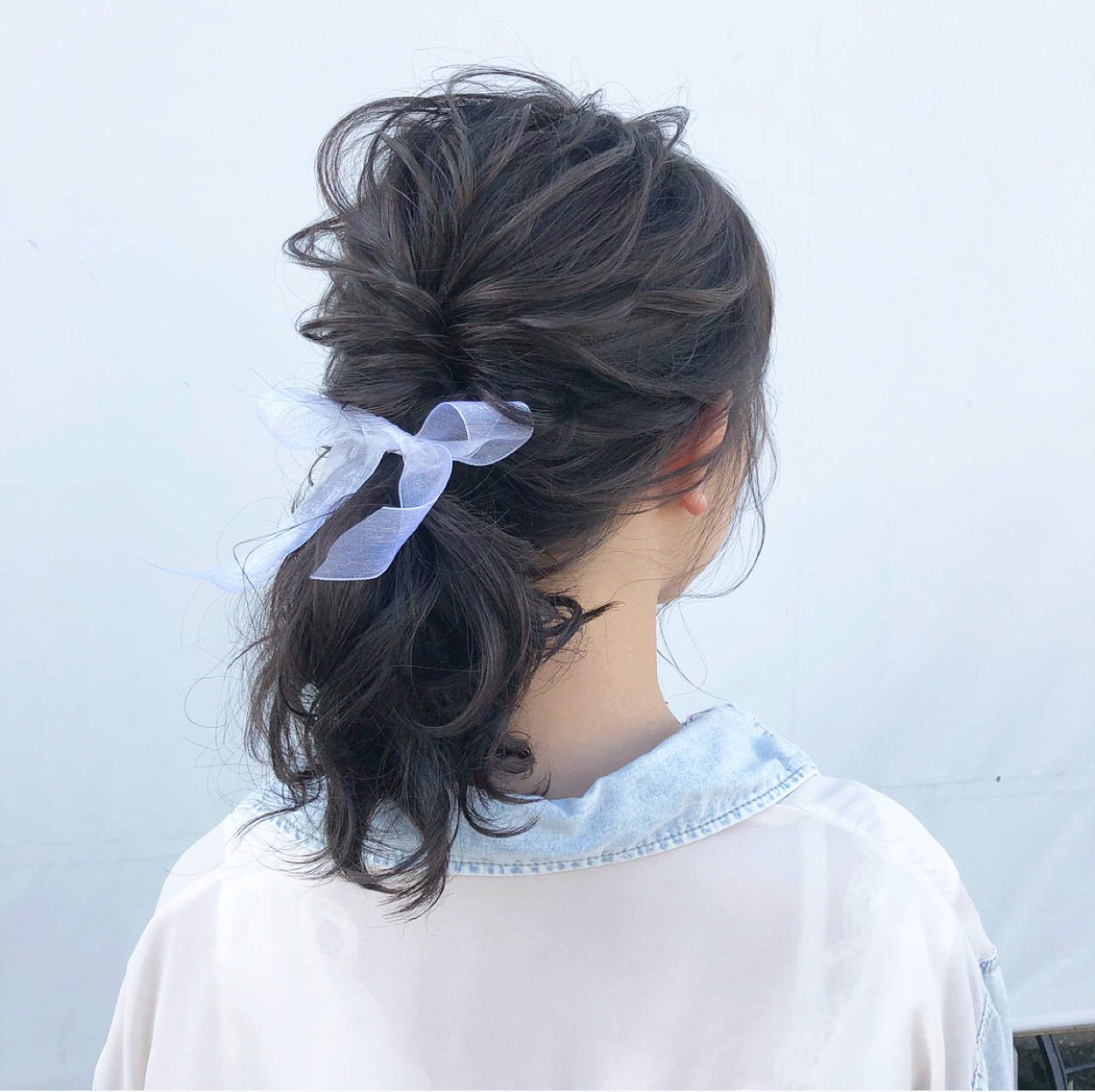 ミディアム 簡単ヘアアレンジ 夏 ポニーテール ヘアスタイルや髪型の写真・画像