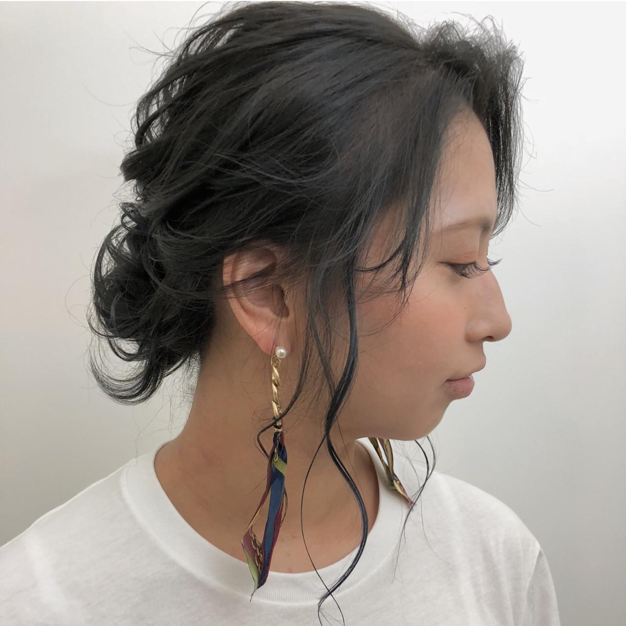 オフィス シニヨン デート ヘアアレンジ ヘアスタイルや髪型の写真・画像