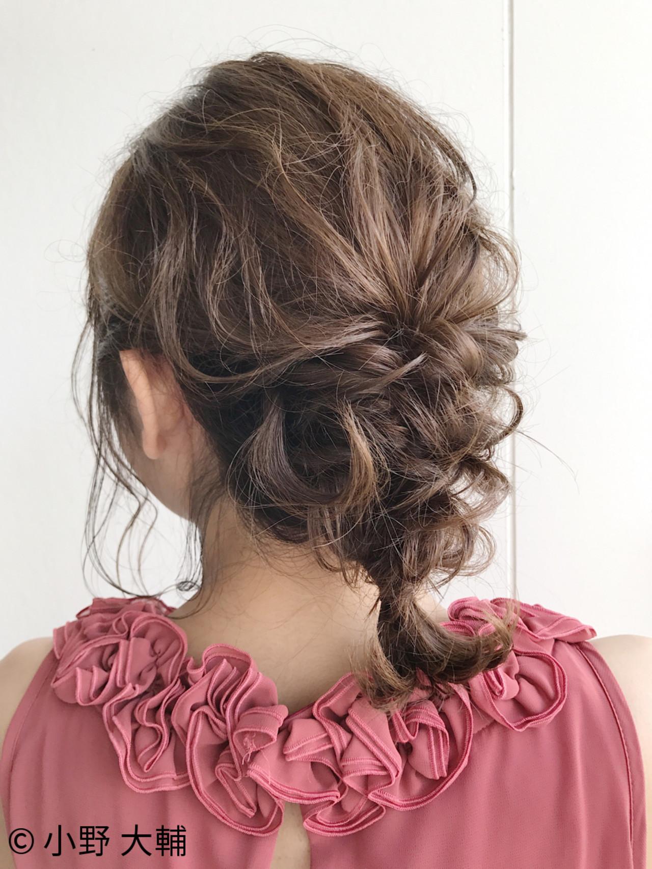 結婚式 ヘアアレンジ 編み込み ミディアム ヘアスタイルや髪型の写真・画像