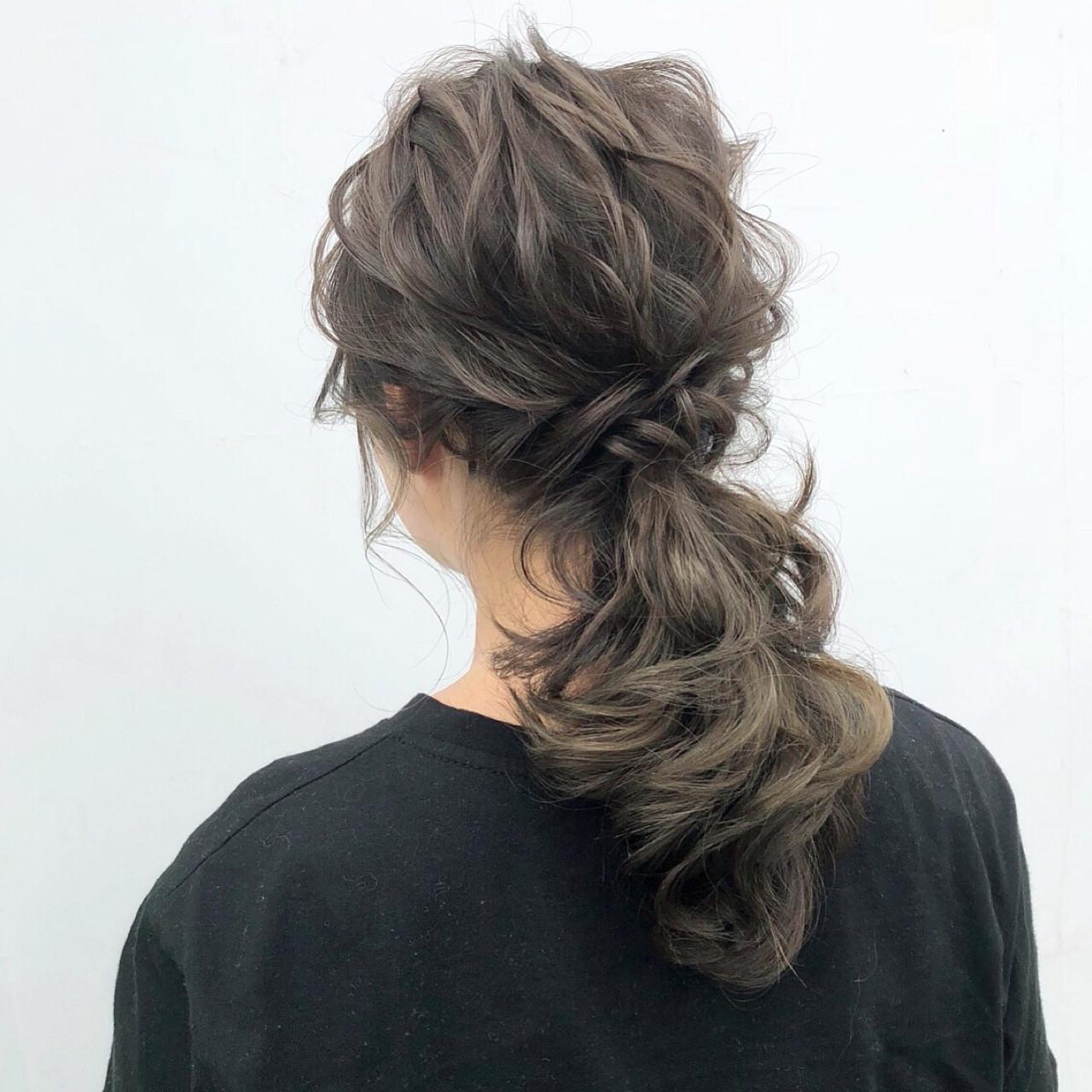 ポニーテール 簡単ヘアアレンジ ナチュラル ヘアアレンジ ヘアスタイルや髪型の写真・画像