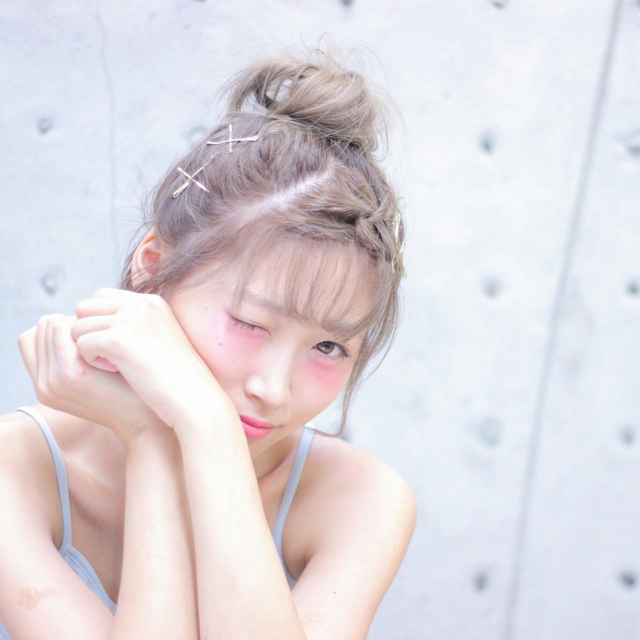 簡単ヘアアレンジ ヘアアクセ ボブ メッシーバン ヘアスタイルや髪型の写真・画像