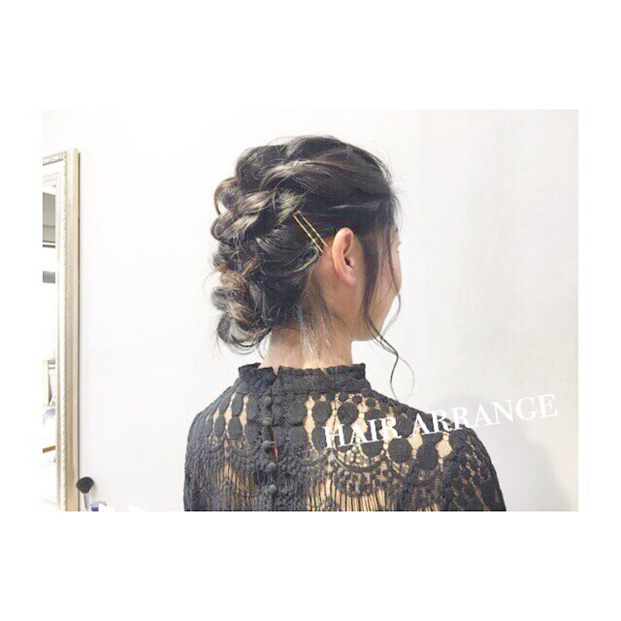 ミディアム パーティ 簡単ヘアアレンジ 結婚式 ヘアスタイルや髪型の写真・画像