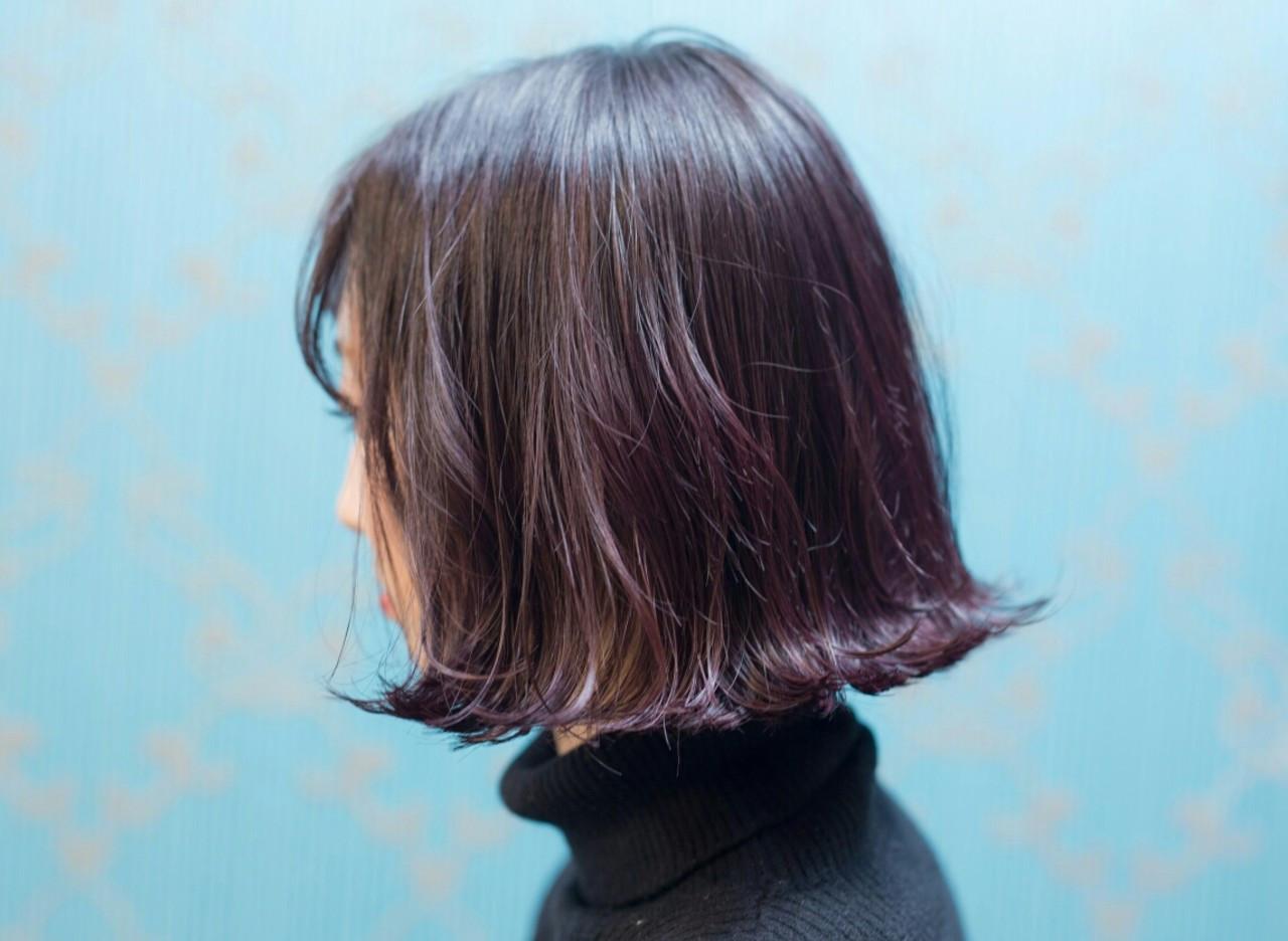 ストリート ボブ パープル ダブルカラー ヘアスタイルや髪型の写真・画像
