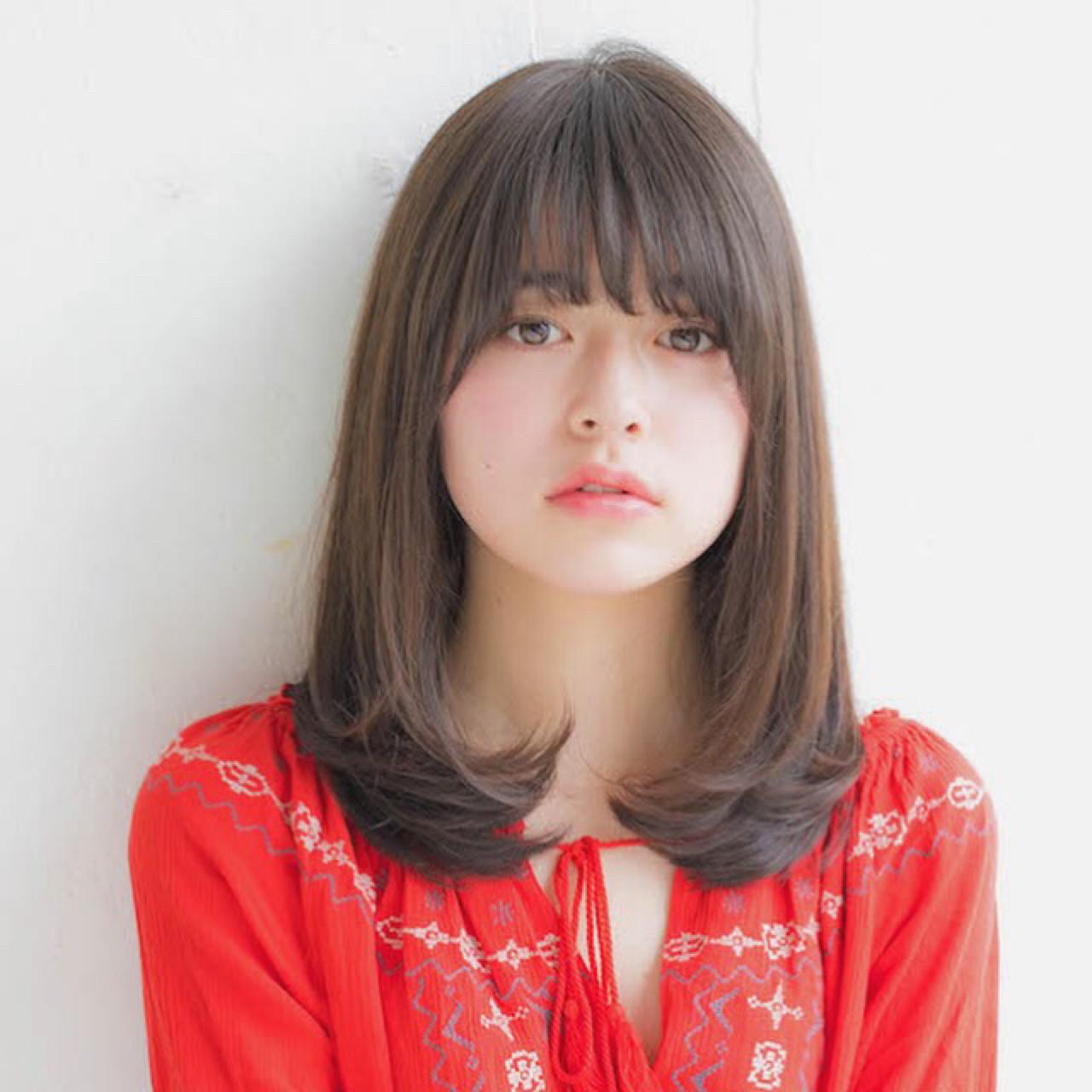 前髪あり 透明感 大人かわいい 女子力 ヘアスタイルや髪型の写真・画像