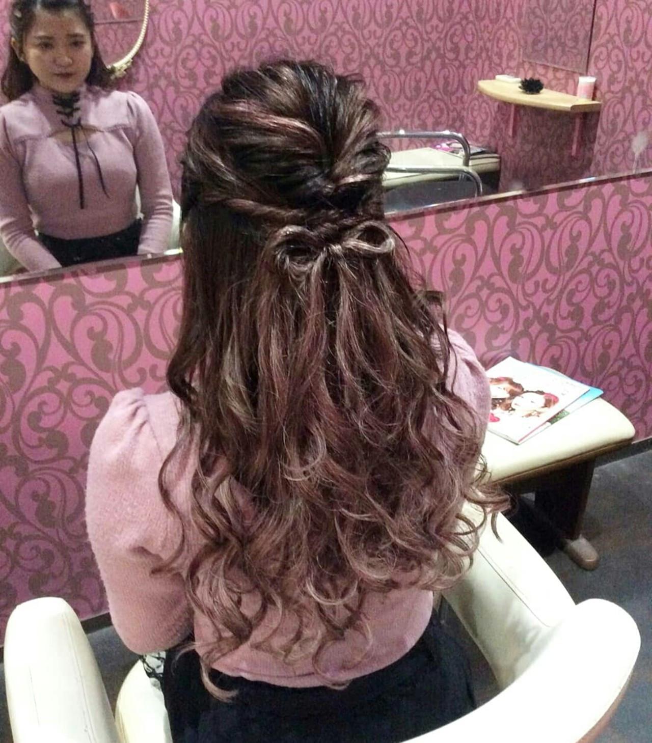 ナチュラル ヘアアレンジ ロング ハーフアップ ヘアスタイルや髪型の写真・画像