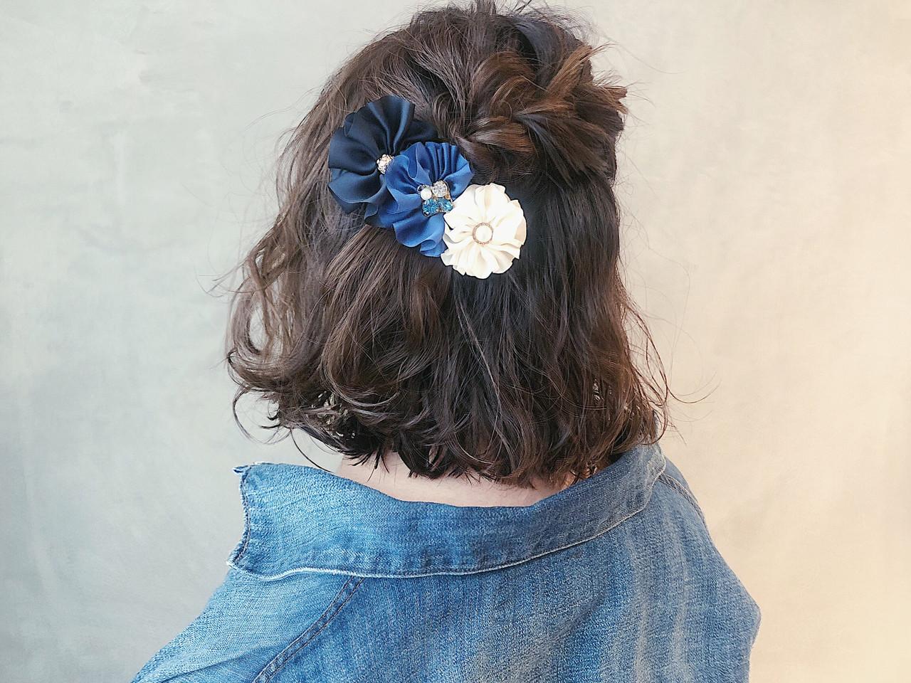 ゆるふわ 編み込み 簡単ヘアアレンジ フェミニン ヘアスタイルや髪型の写真・画像