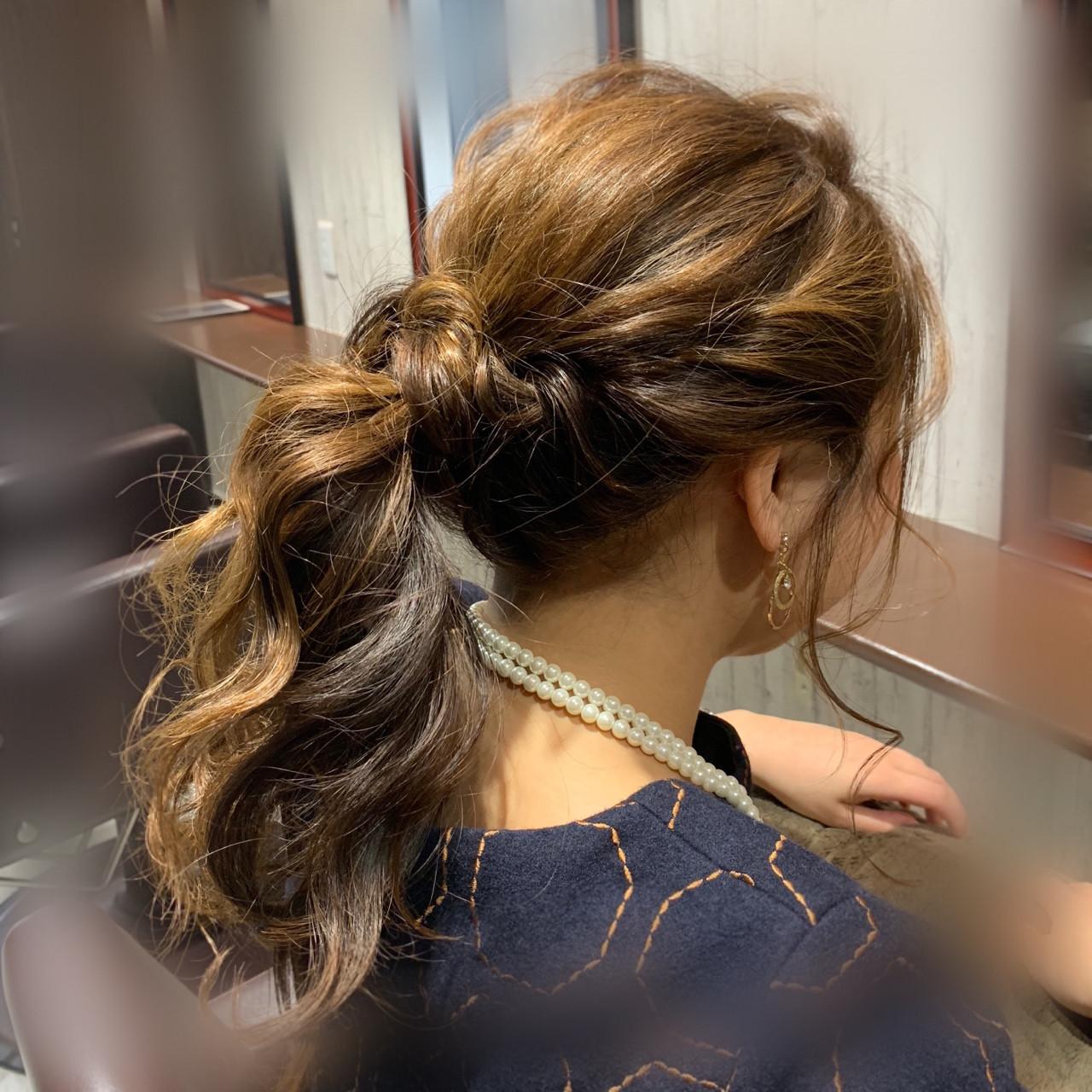 フェミニン ロング ポニーテール 結婚式 ヘアスタイルや髪型の写真・画像