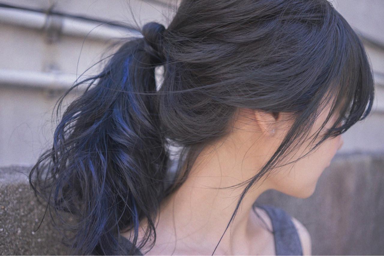 ポニーテール ブルージュ ネイビー ヘアアレンジ ヘアスタイルや髪型の写真・画像