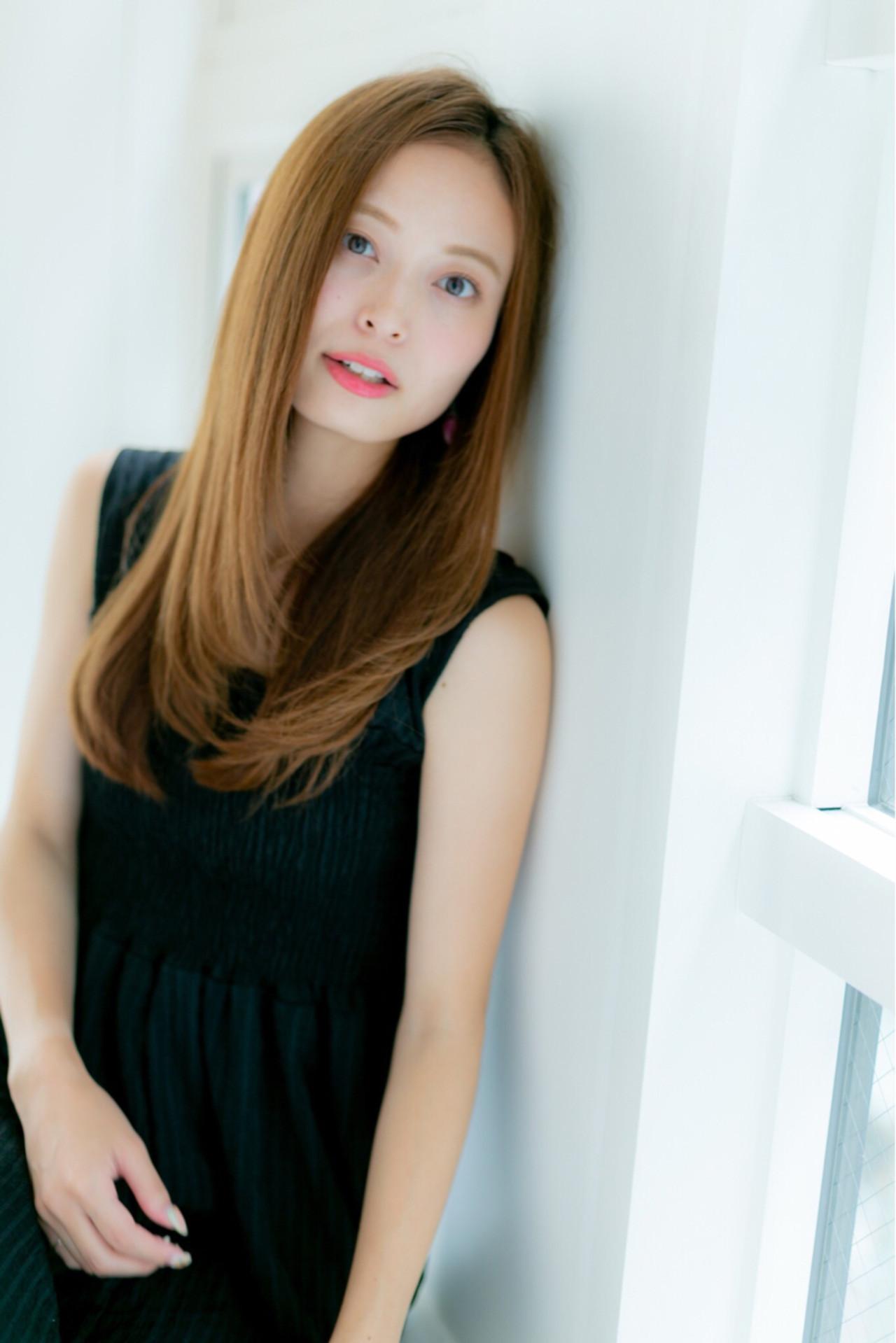 ロング 上品 ストレート パーマ ヘアスタイルや髪型の写真・画像
