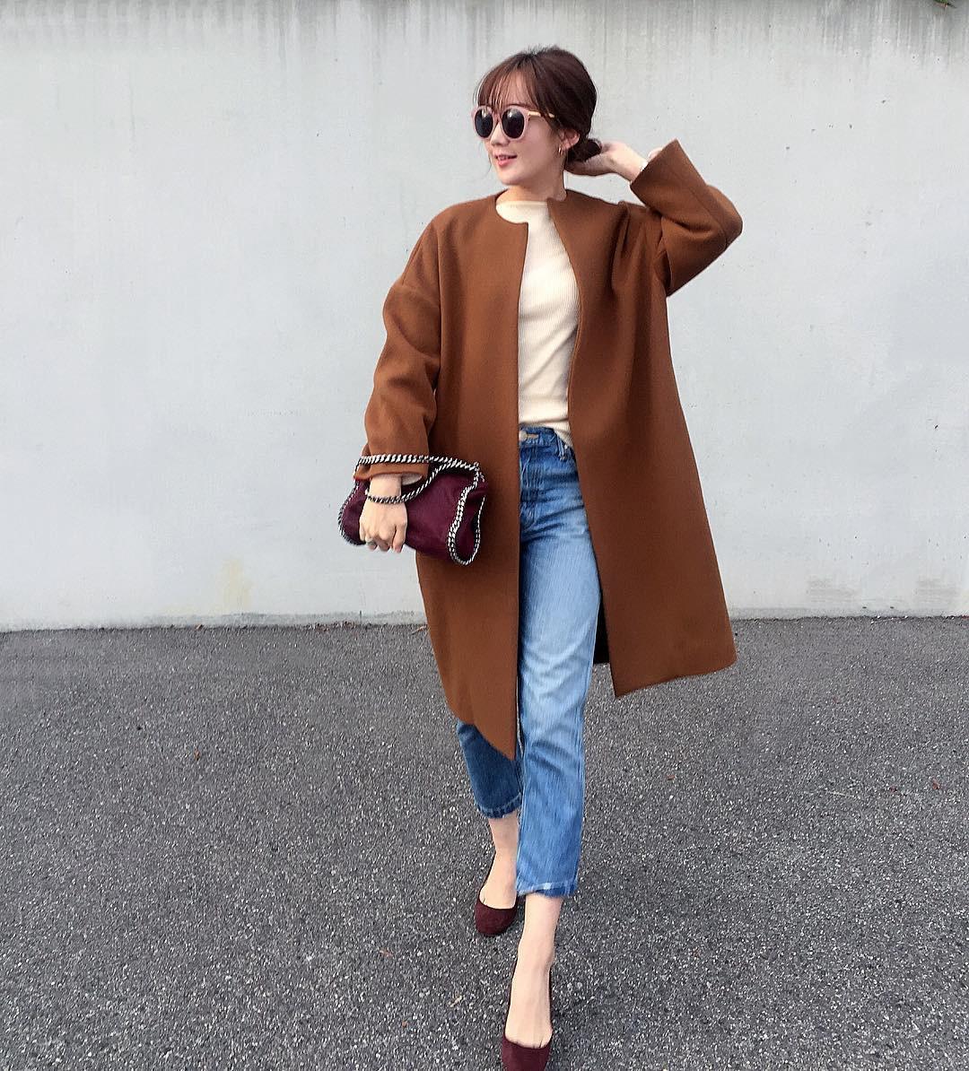 ブラウンコートの女っぽカジュアルコーデ ___mikik___