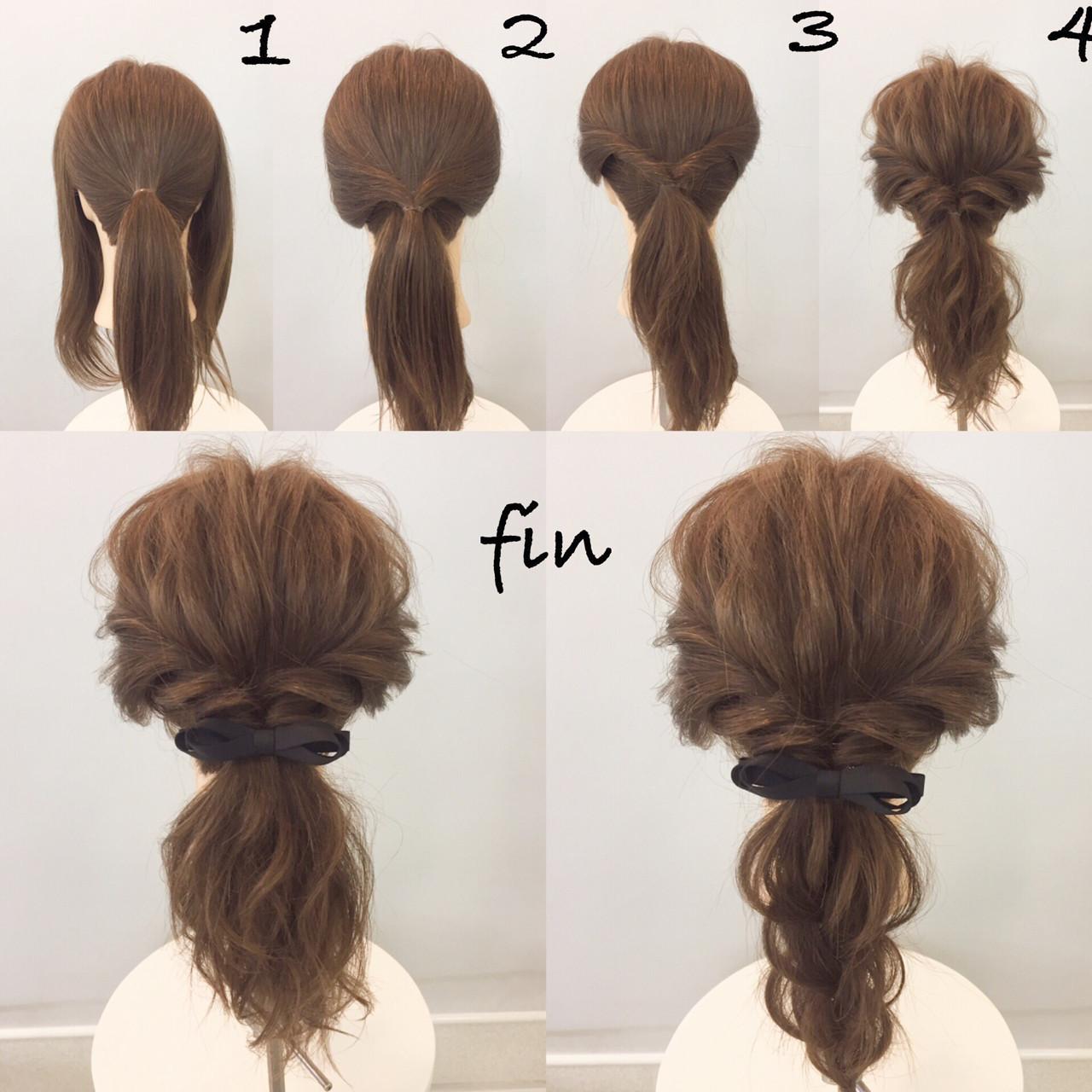 大人女子 ポニーテール ミディアム 簡単 ヘアスタイルや髪型の写真・画像