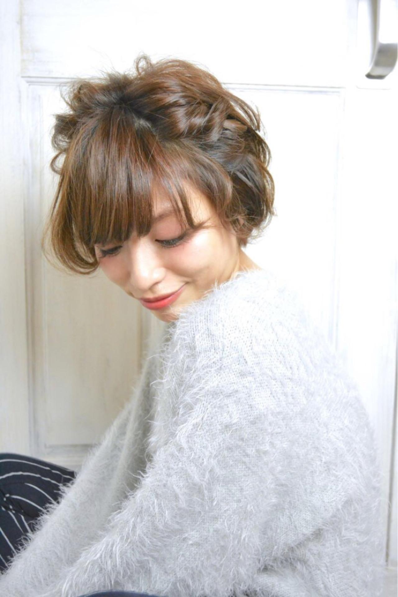 ショート パーティ 簡単ヘアアレンジ ヘアアレンジ ヘアスタイルや髪型の写真・画像