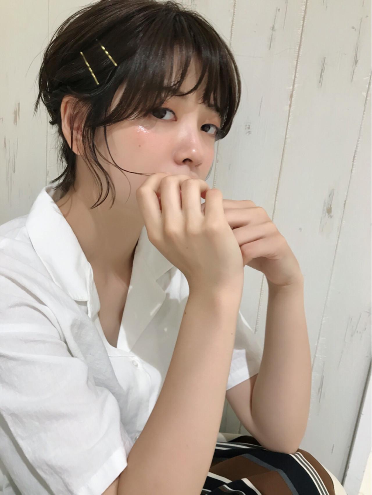 ショート ガーリー ヘアアレンジ 女子力 ヘアスタイルや髪型の写真・画像