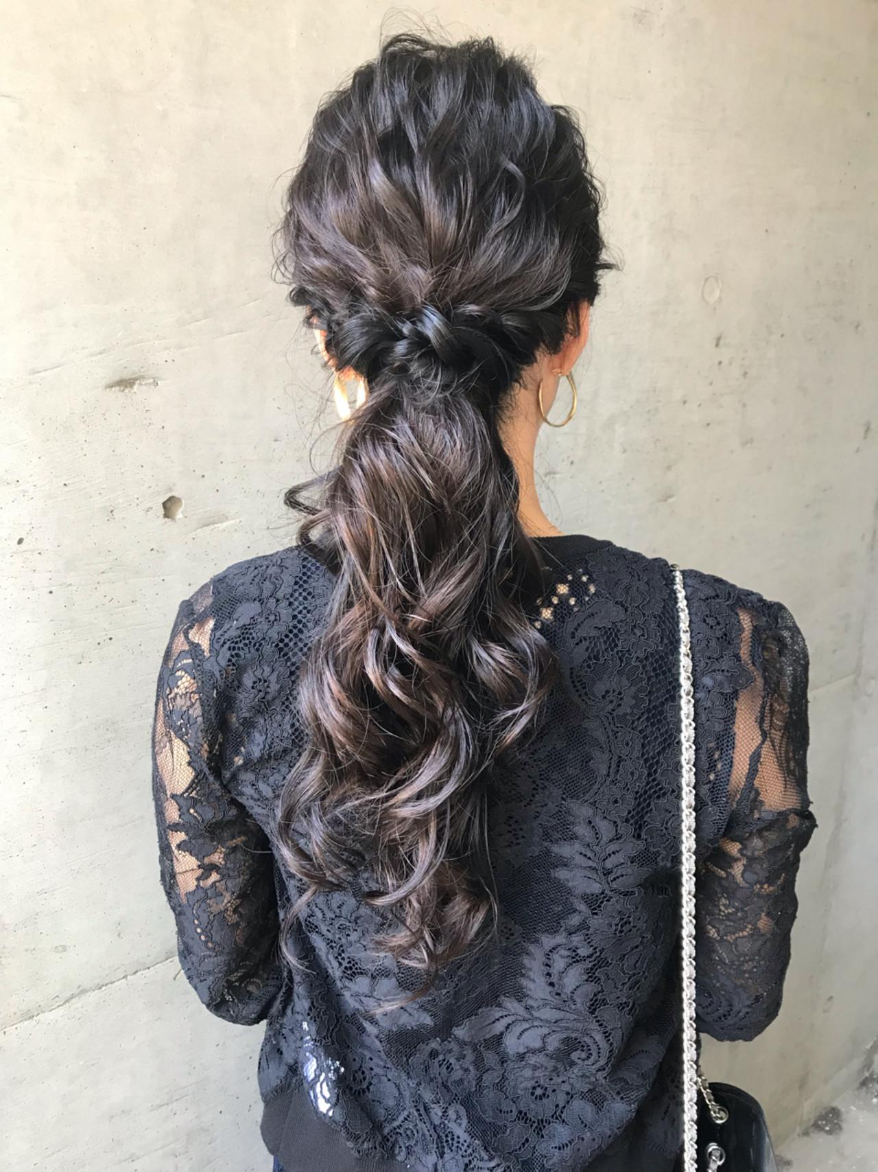 モード ロング ヘアアレンジ ウェーブ ヘアスタイルや髪型の写真・画像