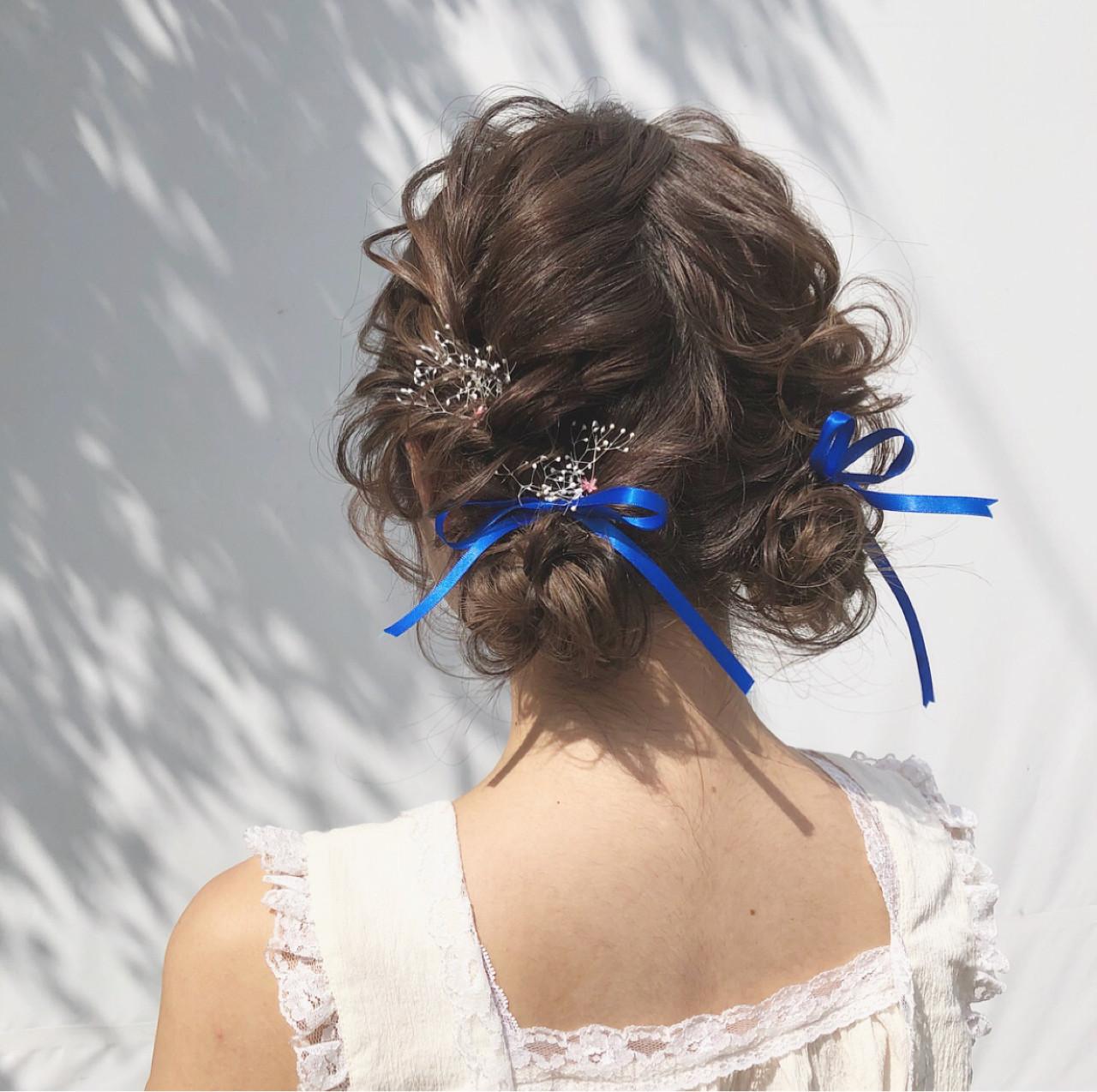 お団子 セミロング イベント ヘアアレンジ ヘアスタイルや髪型の写真・画像