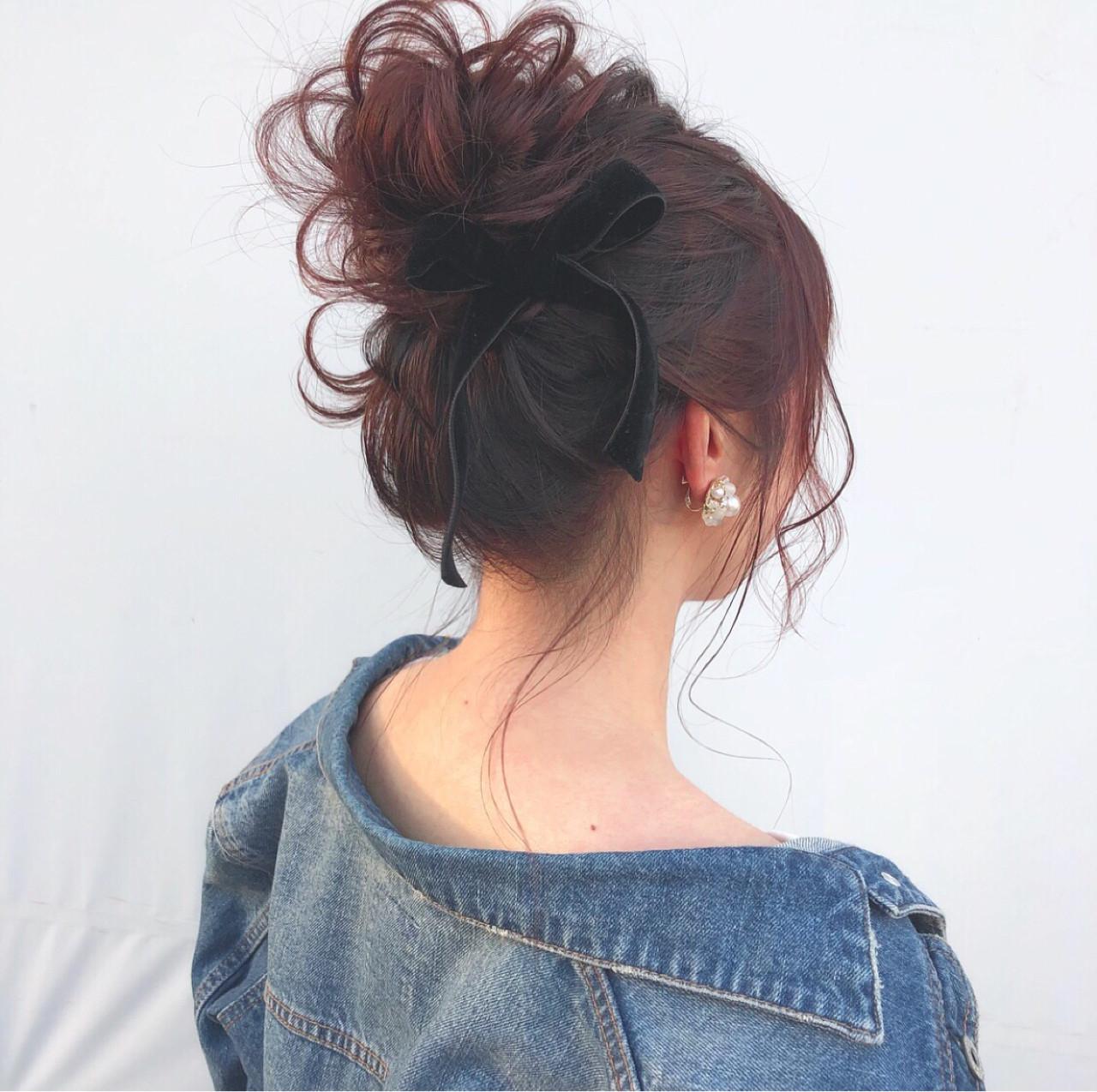 簡単ヘアアレンジ ナチュラル セミロング お団子 ヘアスタイルや髪型の写真・画像