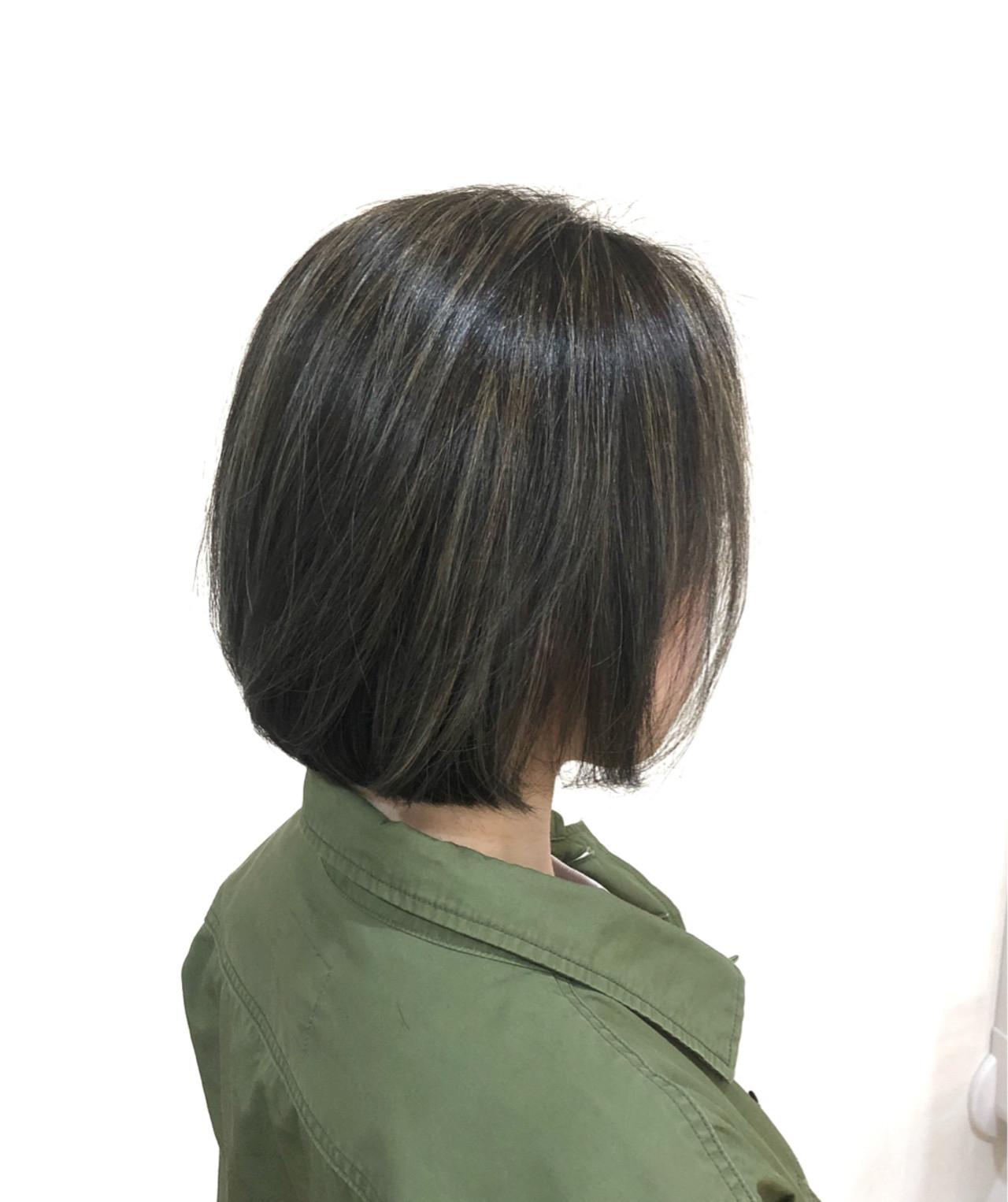 外国人風 ボブ 切りっぱなし ハイライト ヘアスタイルや髪型の写真・画像