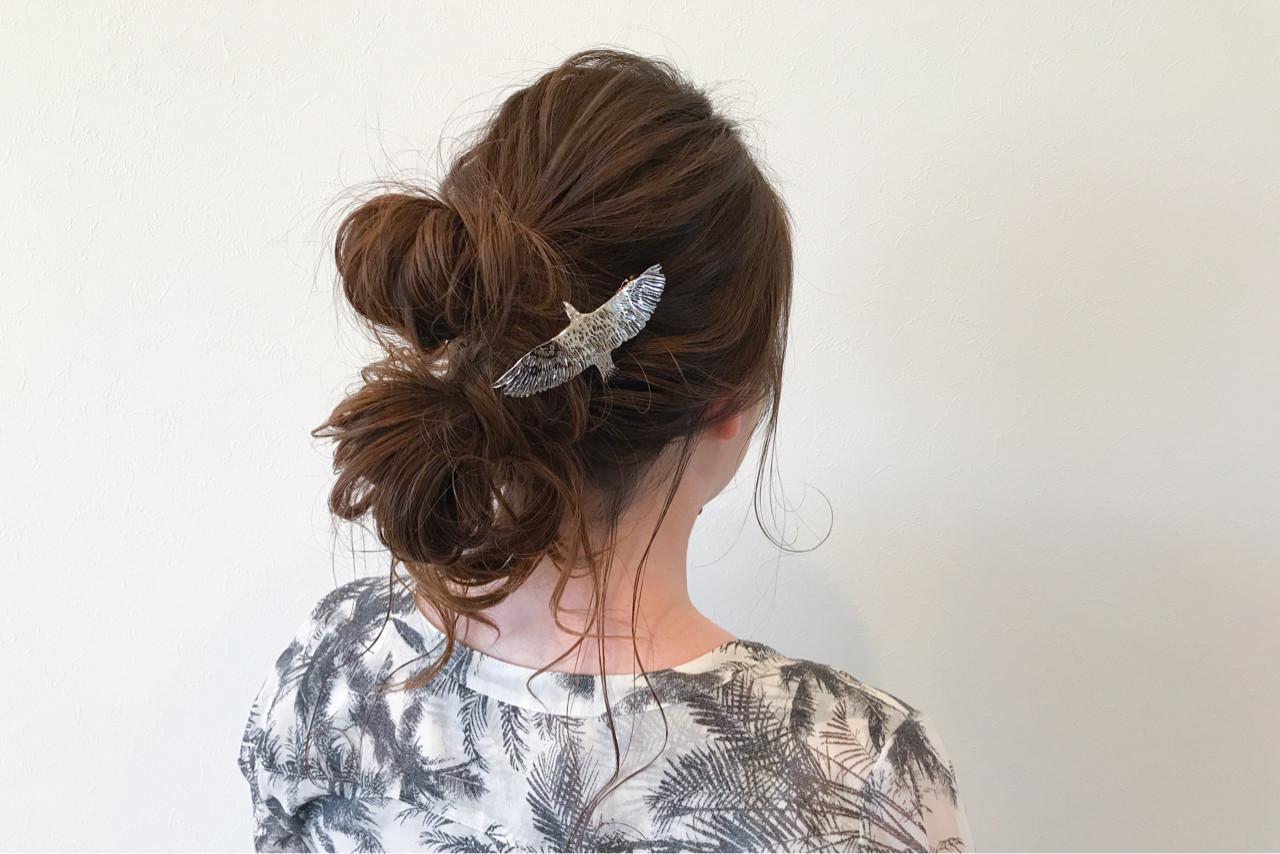 イルミナカラー ナチュラル ロング お団子 ヘアスタイルや髪型の写真・画像