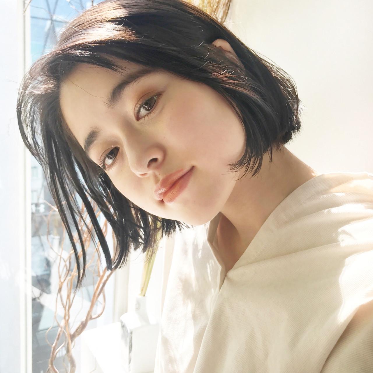 女子力 ボブ ナチュラル 透明感 ヘアスタイルや髪型の写真・画像
