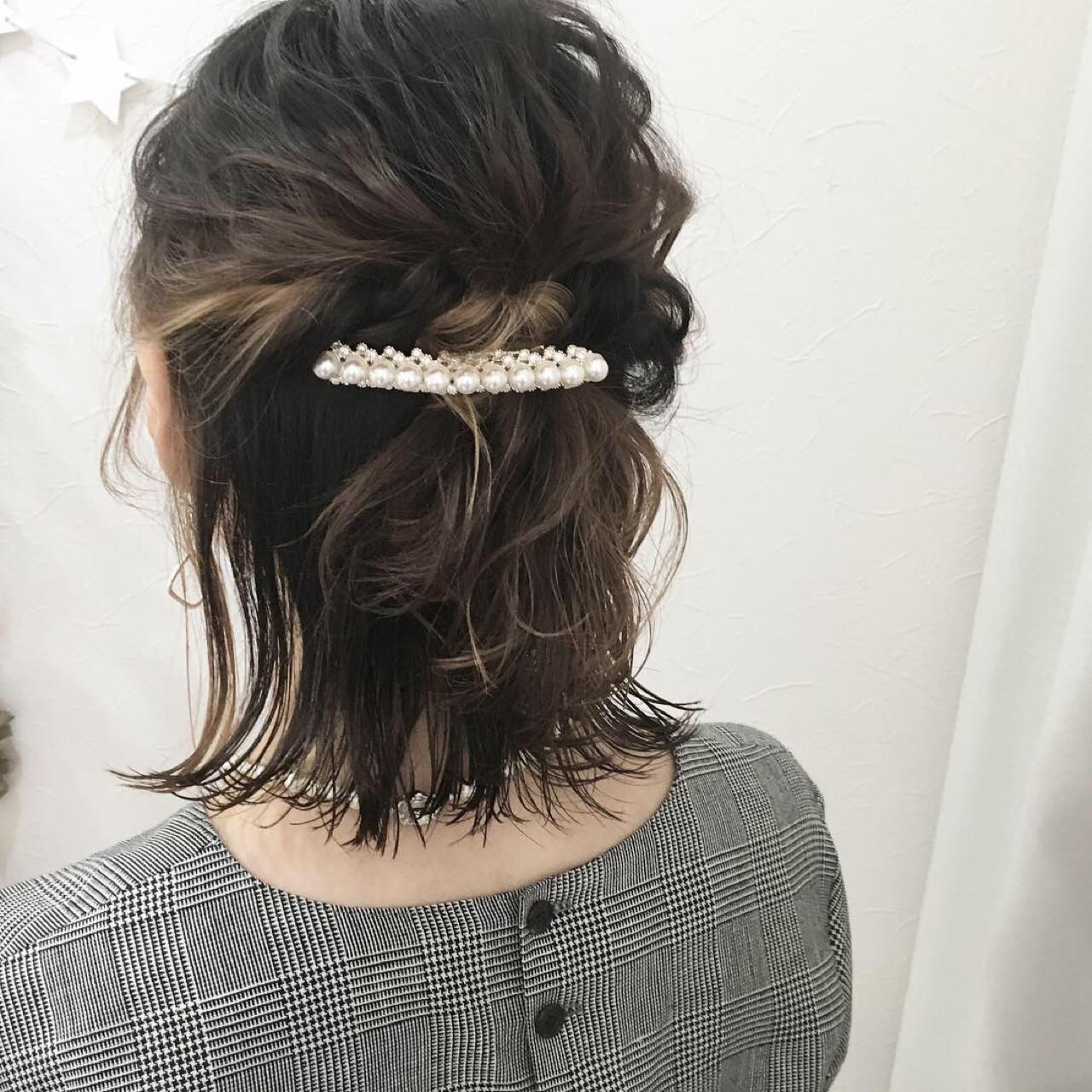 インナーカラー ハーフアップ ナチュラル 結婚式 ヘアスタイルや髪型の写真・画像