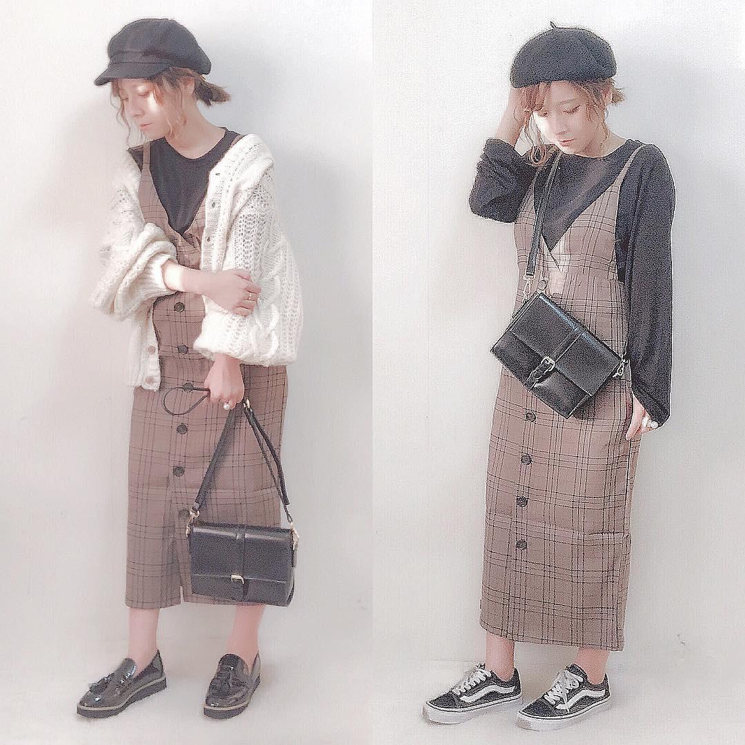 チェック柄がかわいい♡ジャンパースカート dayofme0607