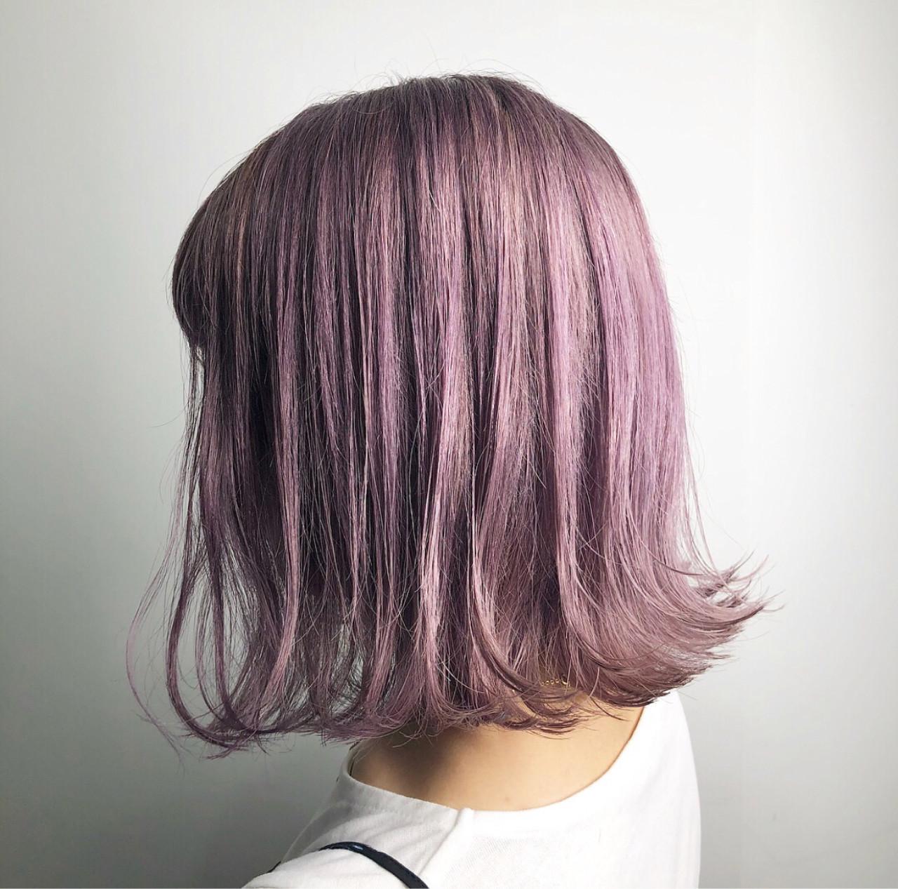ラベンダーアッシュ ラベンダーピンク ストリート 外国人風カラー ヘアスタイルや髪型の写真・画像